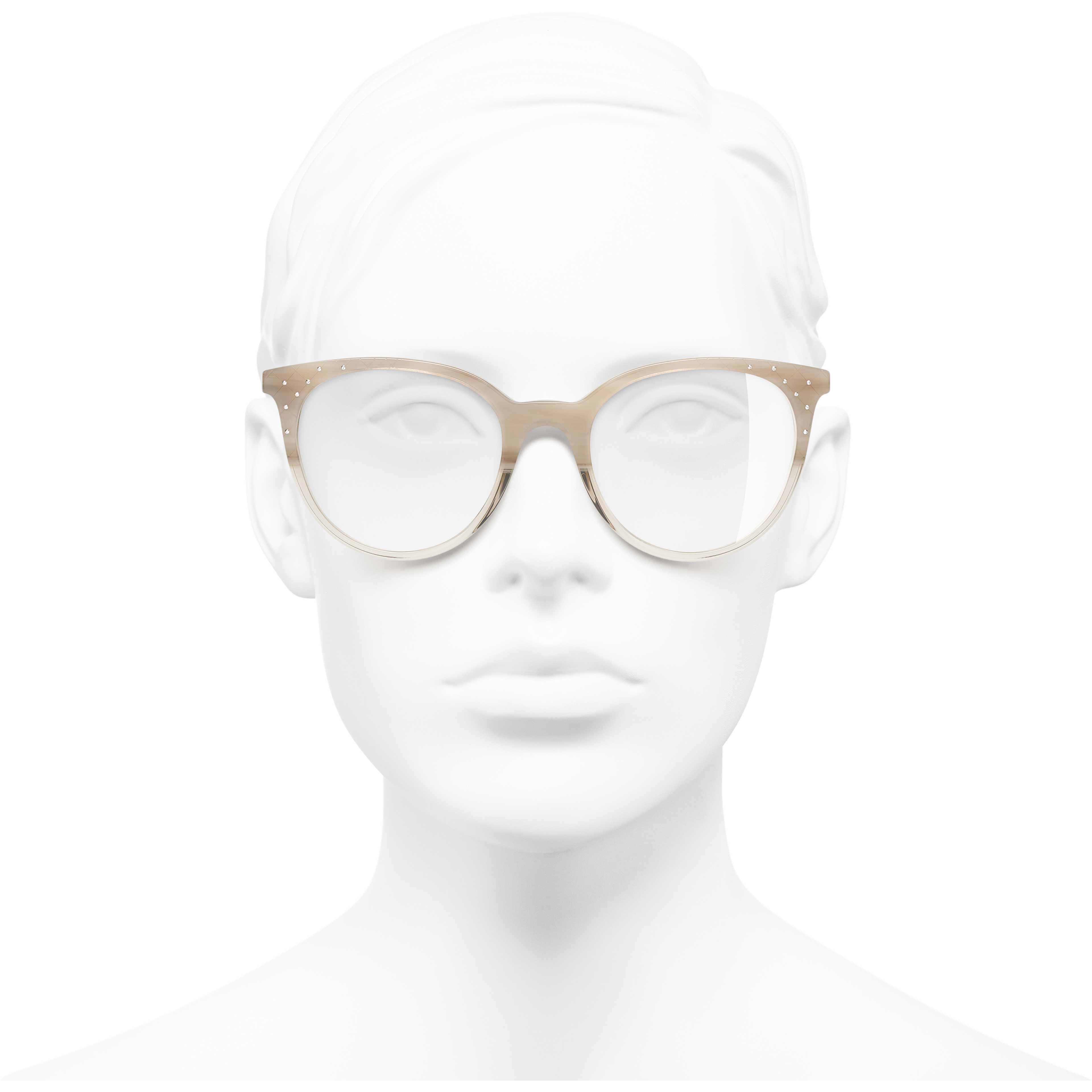 Pantos Eyeglasses - Beige - Acetate, Metal & Strass - CHANEL - Worn front view - see standard sized version