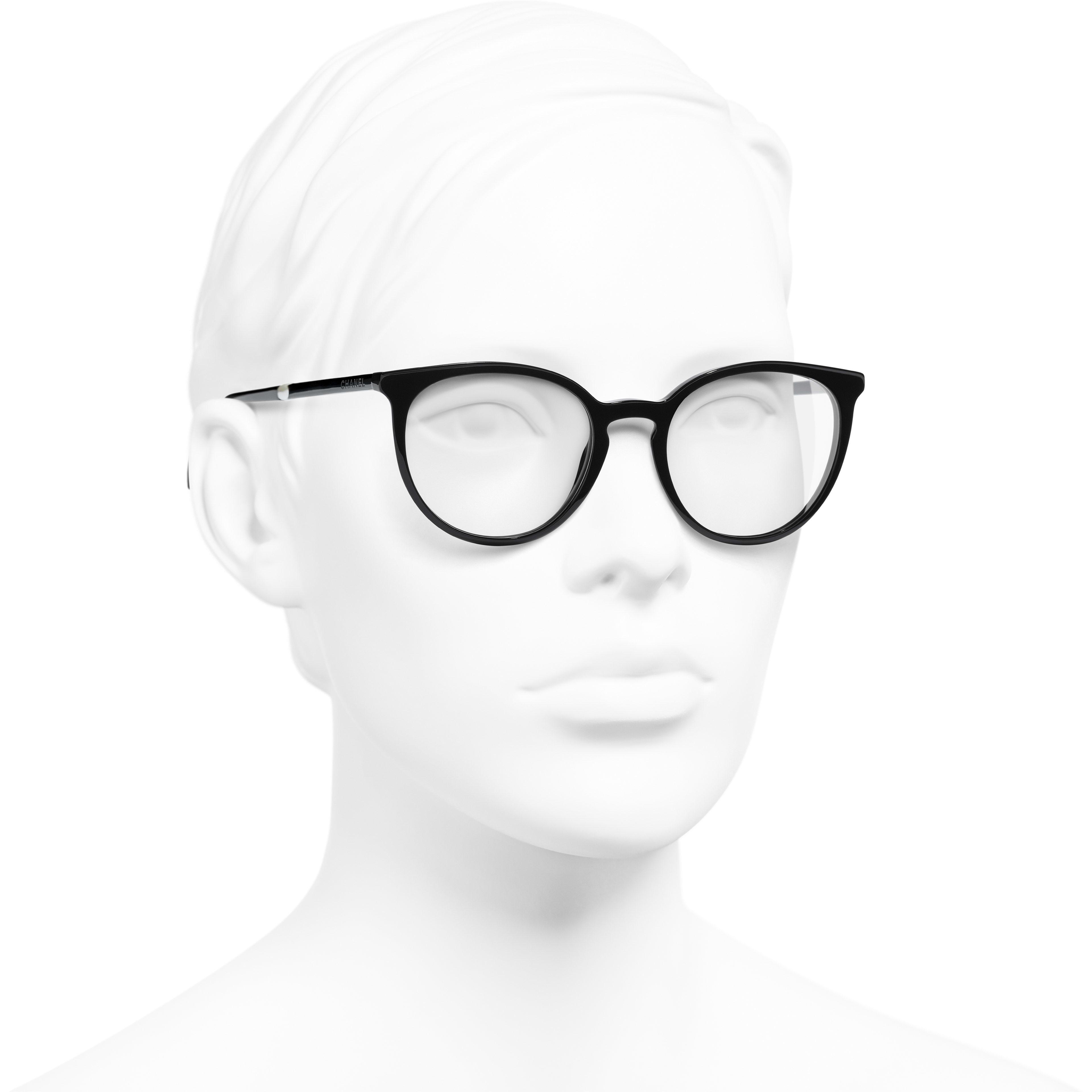 แว่นสายตาทรง Pantos (แพนโทส) - สีดำ - อะซิเตทและมุก - มุมมองการสวมใส่ 3/4 - ดูเวอร์ชันขนาดมาตรฐาน