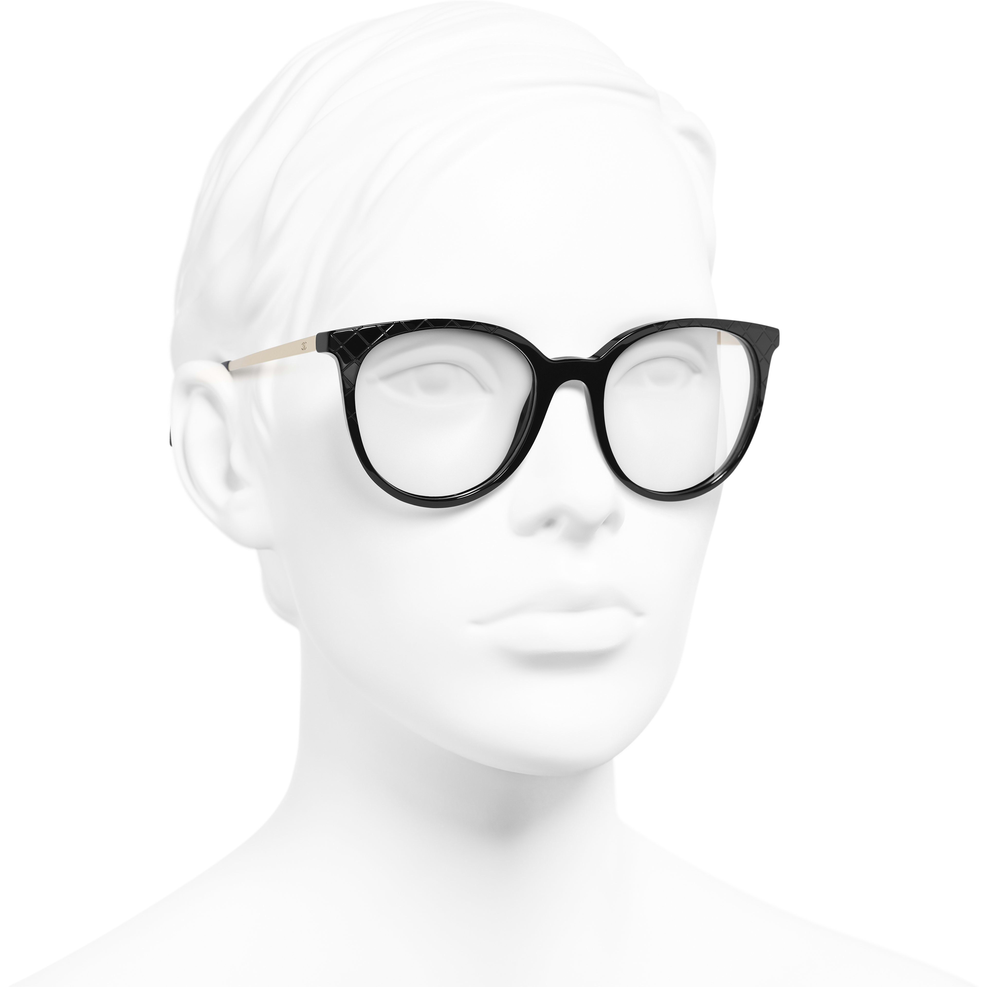 Pantos Eyeglasses - Black - Acetate & Metal - Worn 3/4 view - see standard sized version