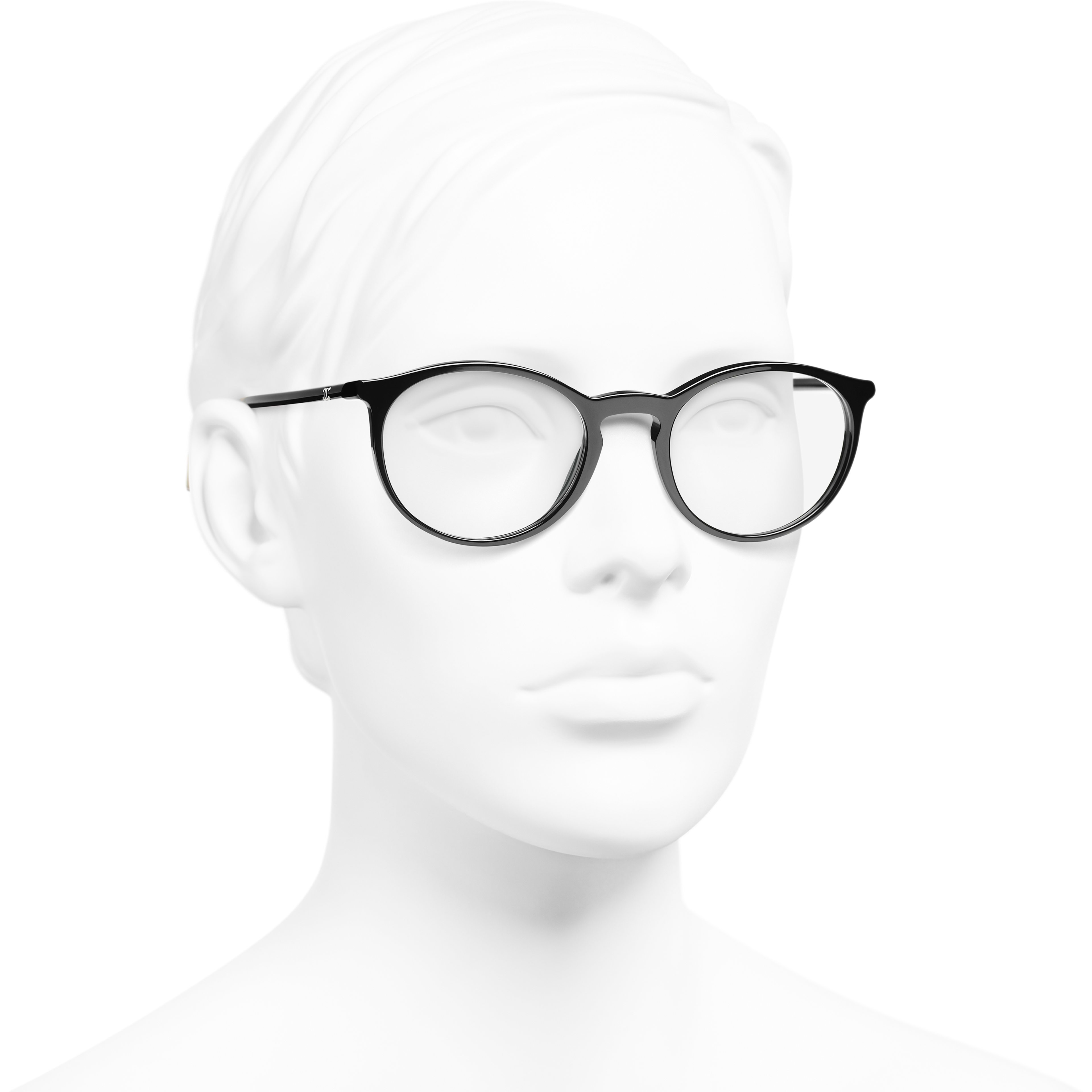 Pantos Eyeglasses - Black & Beige - Acetate - CHANEL - Worn 3/4 view - see standard sized version