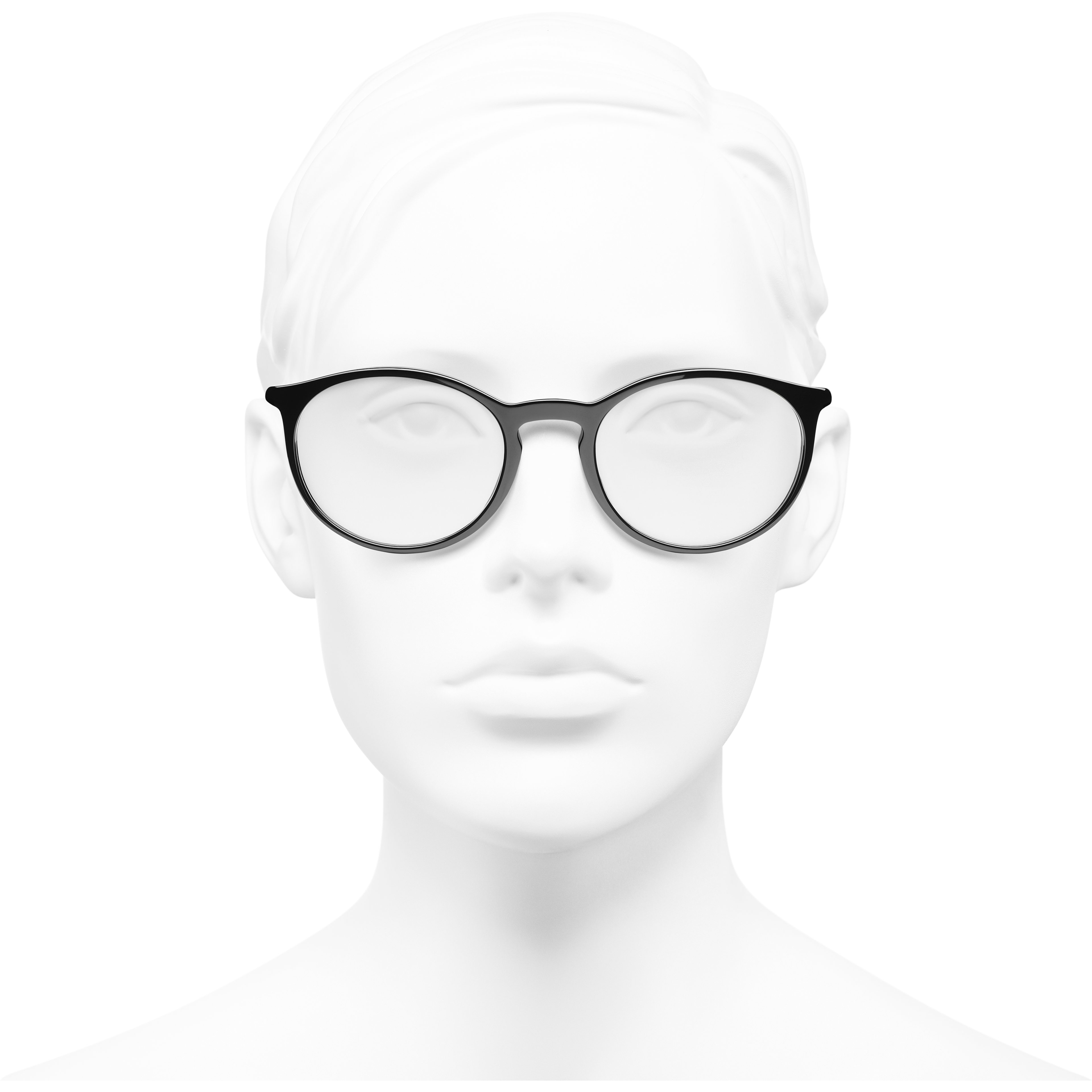 Pantos Eyeglasses - Black & Beige - Acetate - CHANEL - Worn front view - see standard sized version