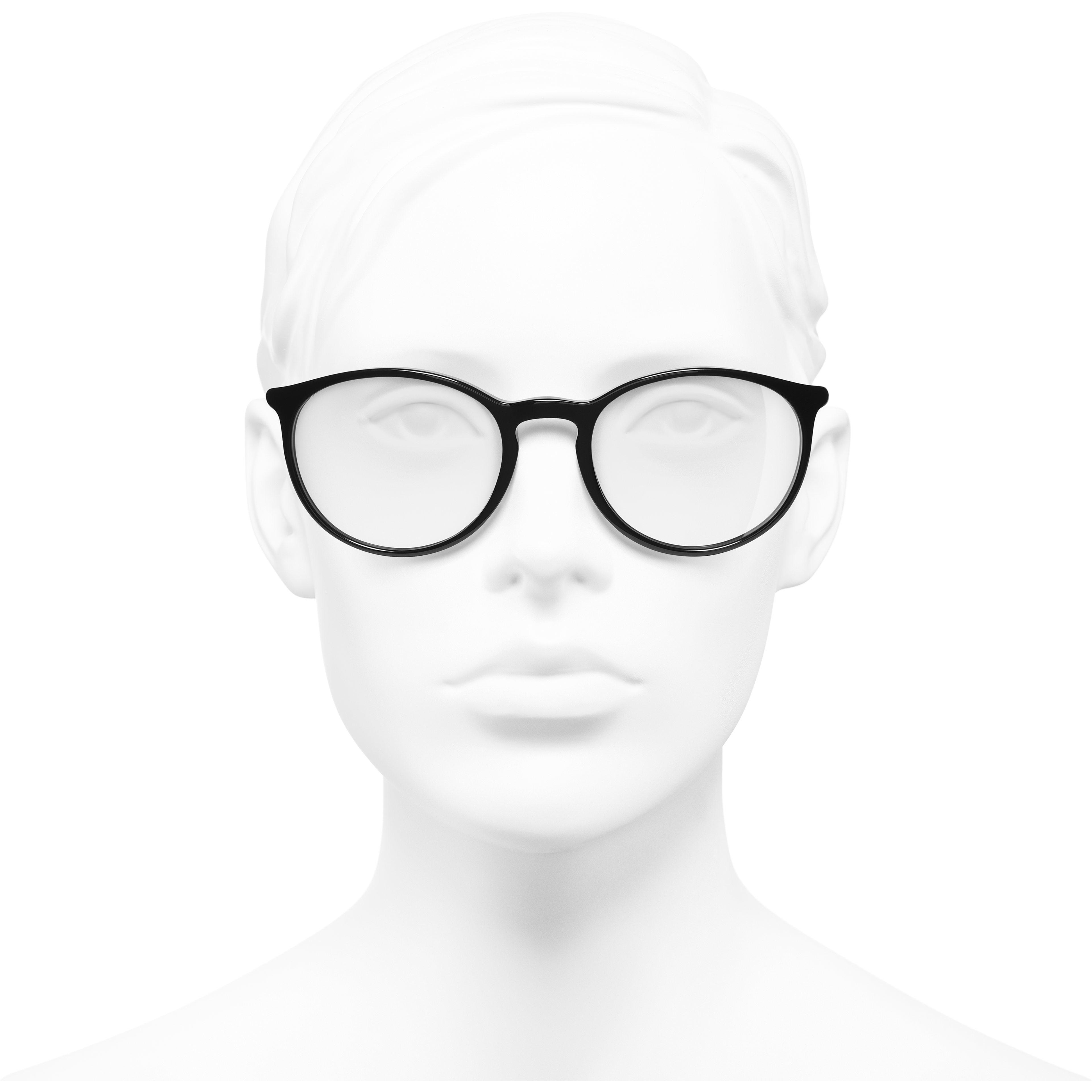Lunettes pantos - Noir & blanc - Acétate - CHANEL - Vue de face portée - voir la version taille standard