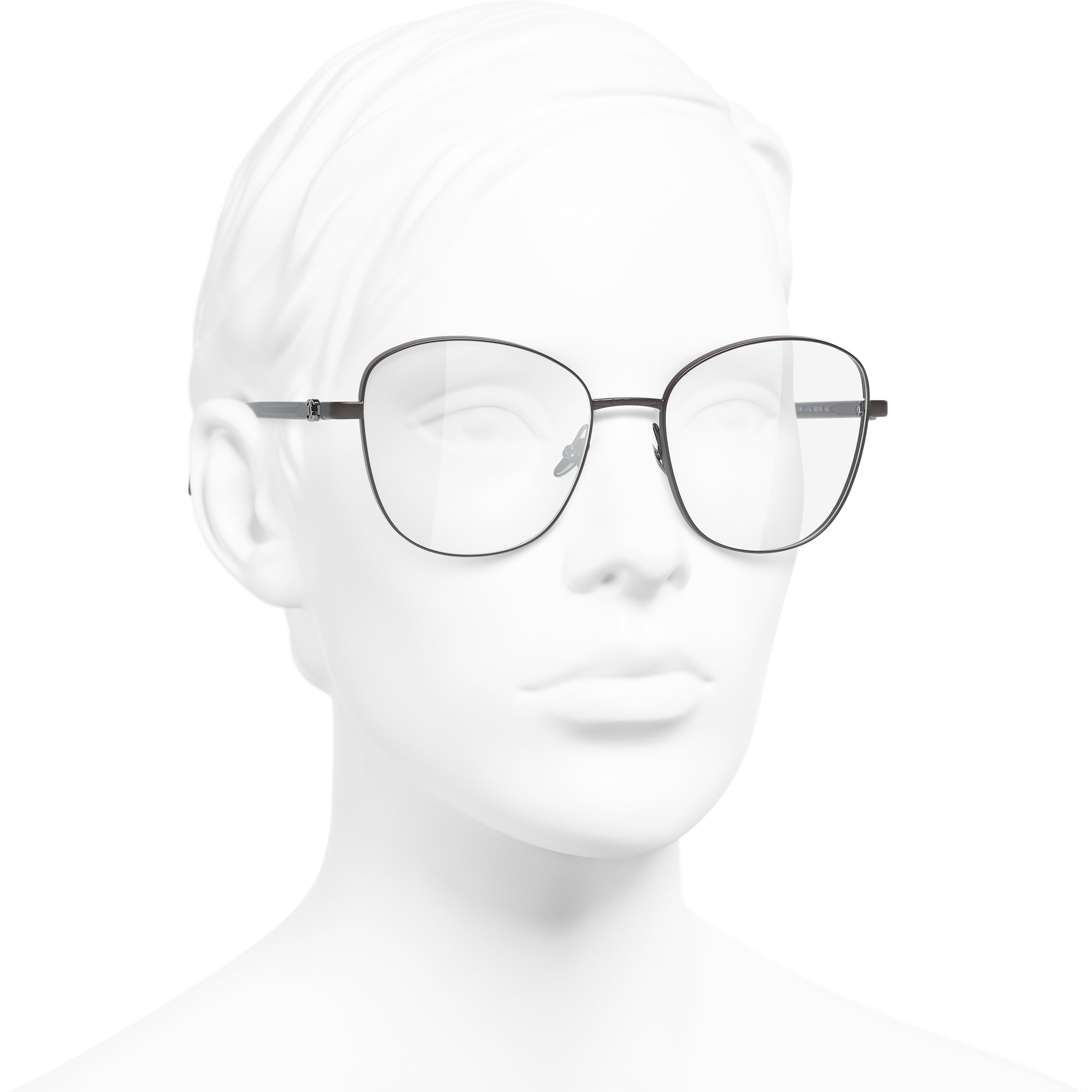 Pantos Eyeglasses - Brown - Acetate & Metal - CHANEL - Worn 3/4 view - see standard sized version