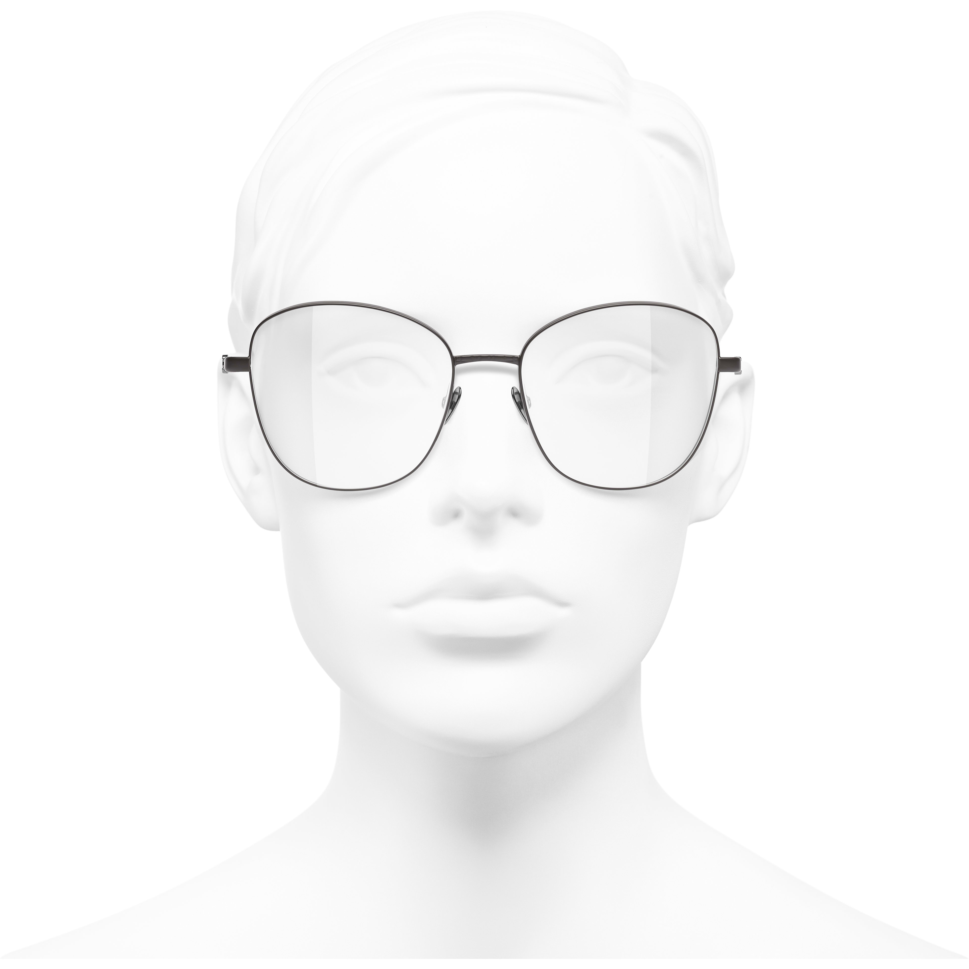 Pantos Eyeglasses - Brown - Acetate & Metal - CHANEL - Worn front view - see standard sized version