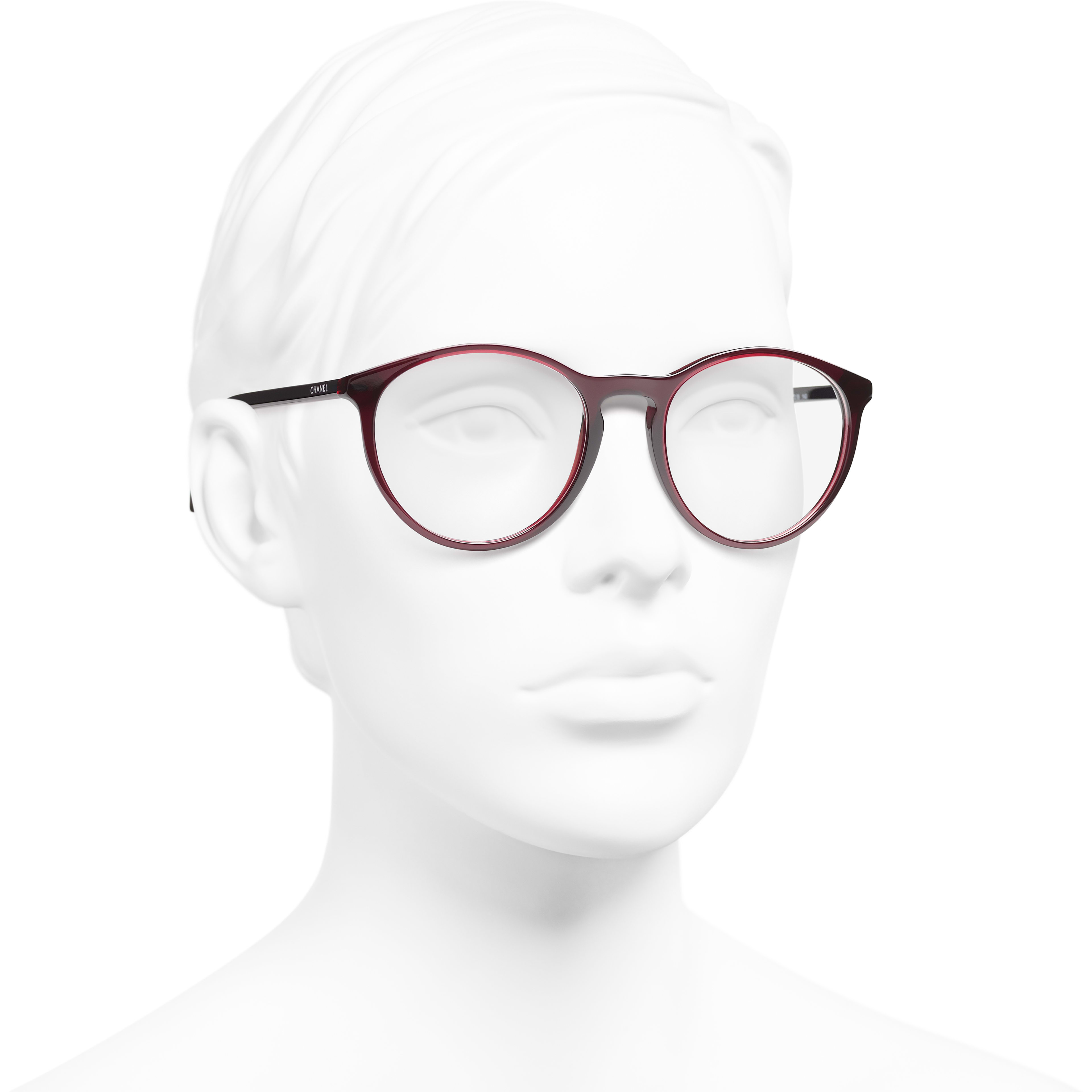 Pantos Eyeglasses - Dark Red - Acetate - CHANEL - Worn 3/4 view - see standard sized version
