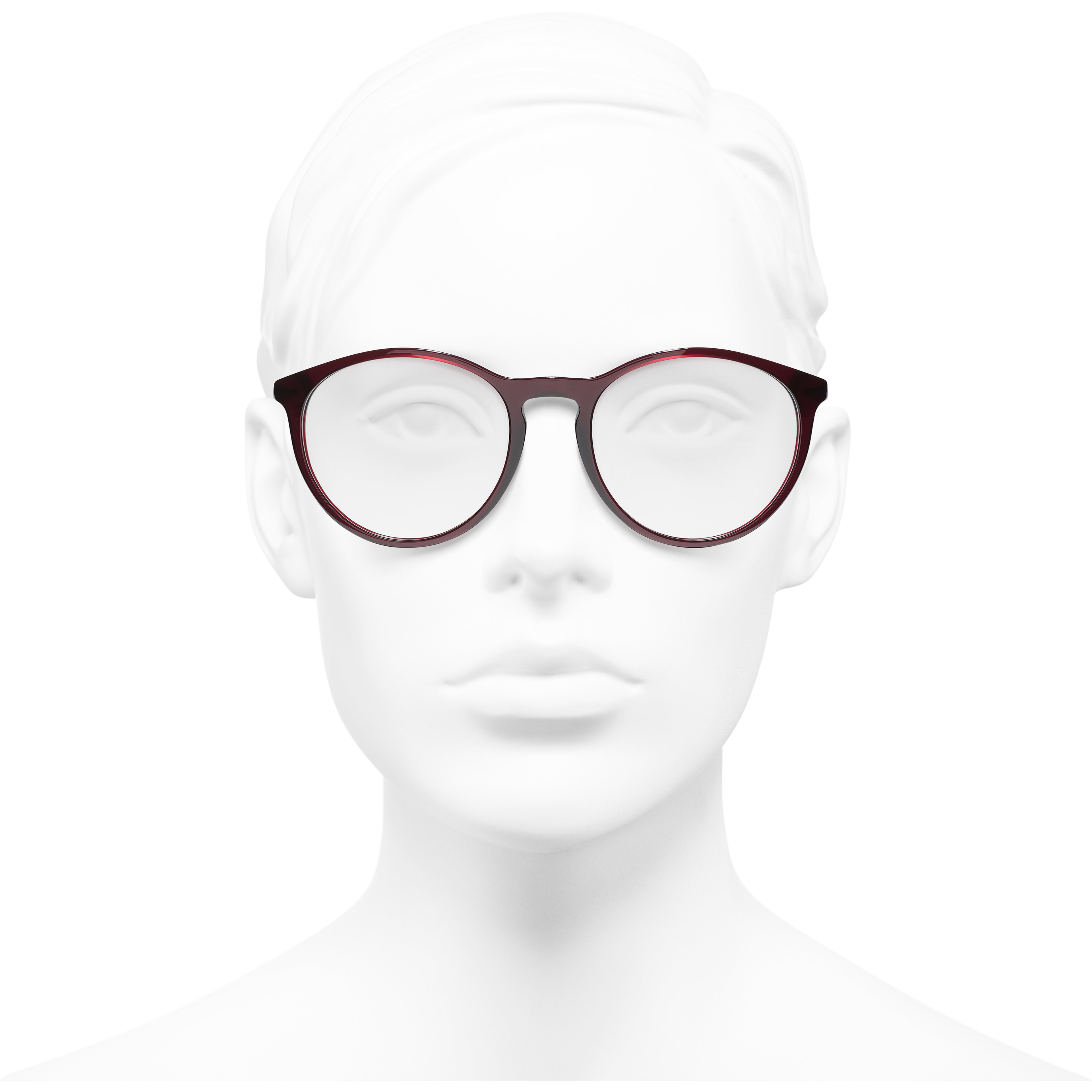 Pantos Eyeglasses - Dark Red - Acetate - CHANEL - Worn front view - see standard sized version