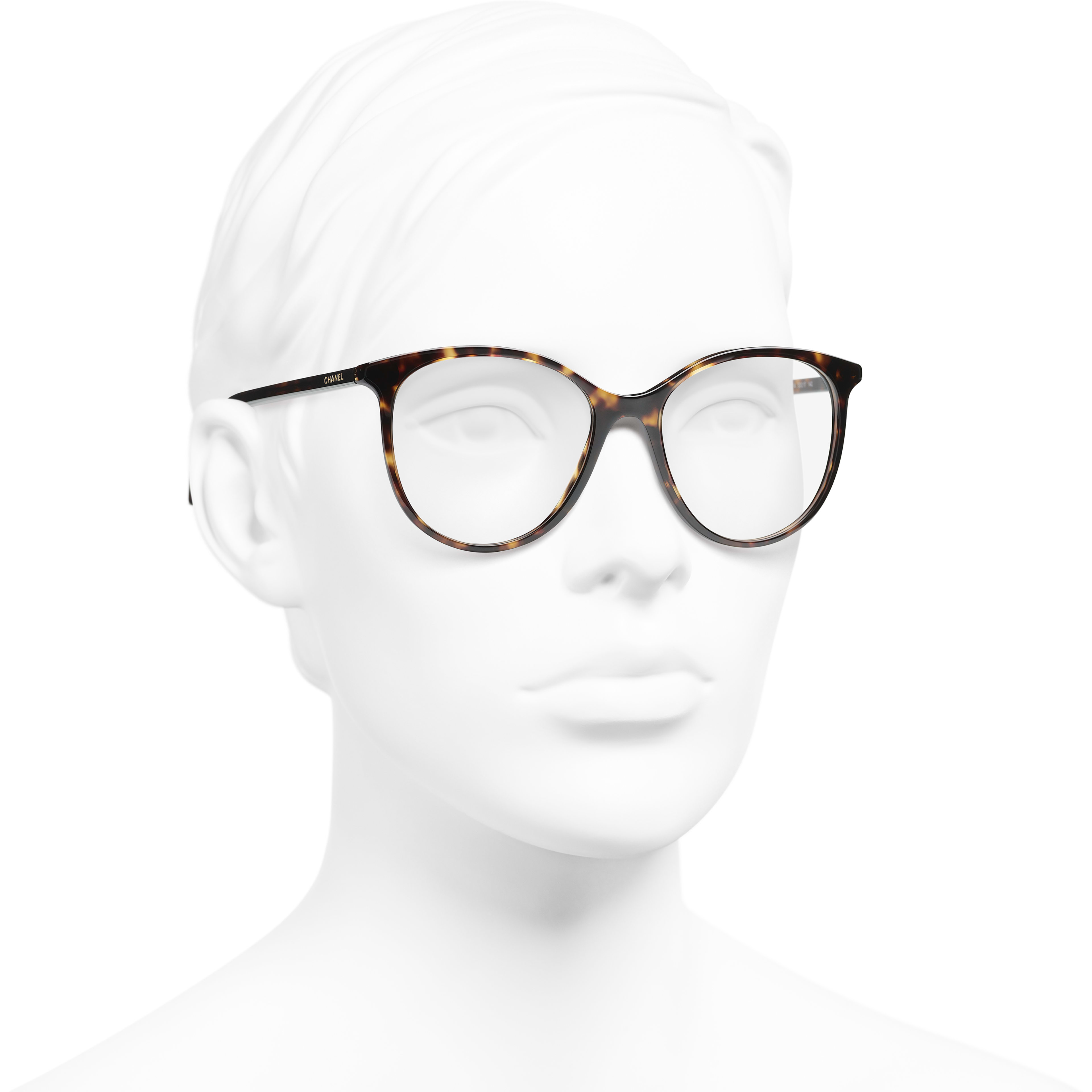 Pantos Eyeglasses - Dark Tortoise - Acetate - CHANEL - Worn 3/4 view - see standard sized version