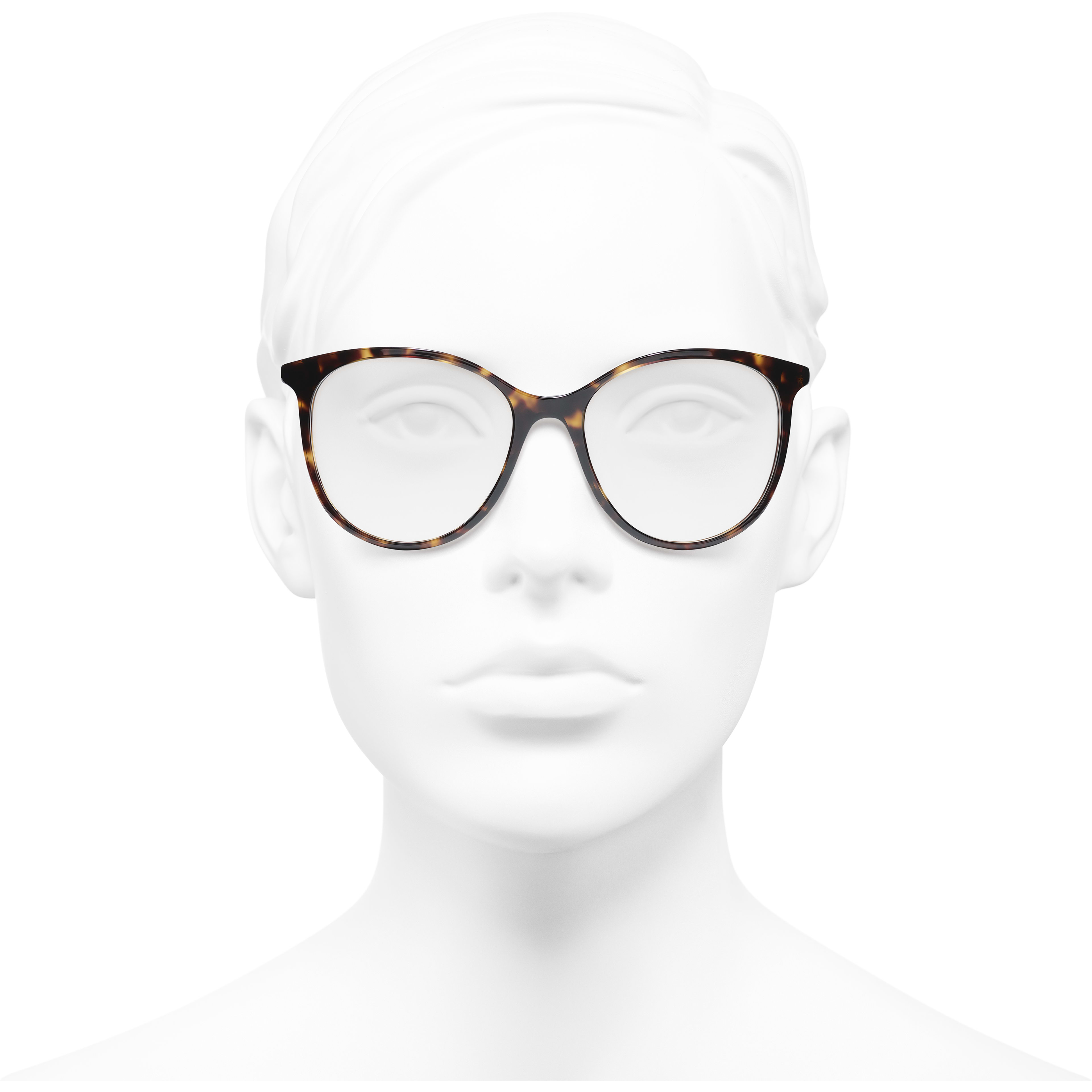 Pantos Eyeglasses - Dark Tortoise - Acetate - CHANEL - Worn front view - see standard sized version