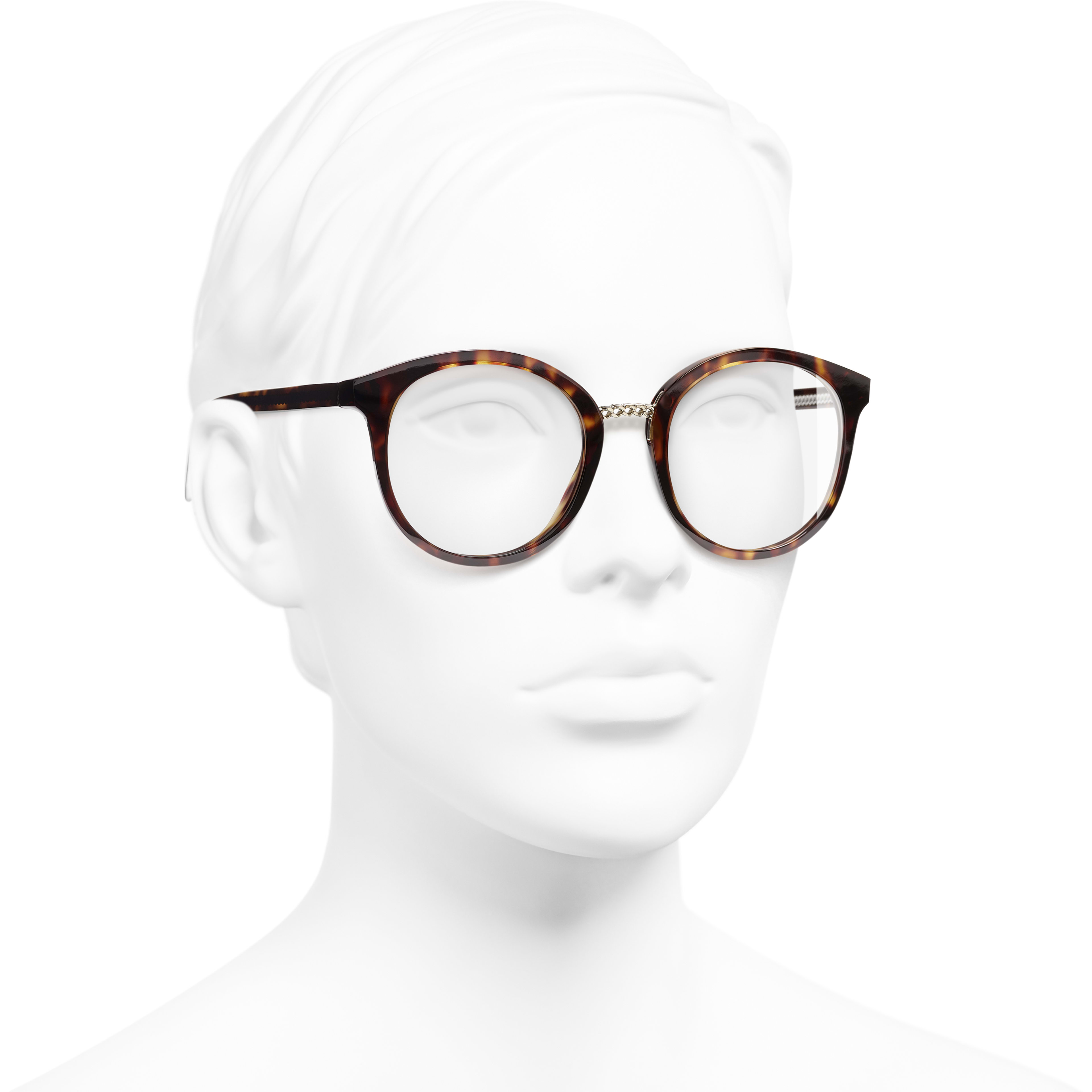 Pantos Eyeglasses - Dark Tortoise - Acetate & Metal - Worn 3/4 view - see standard sized version