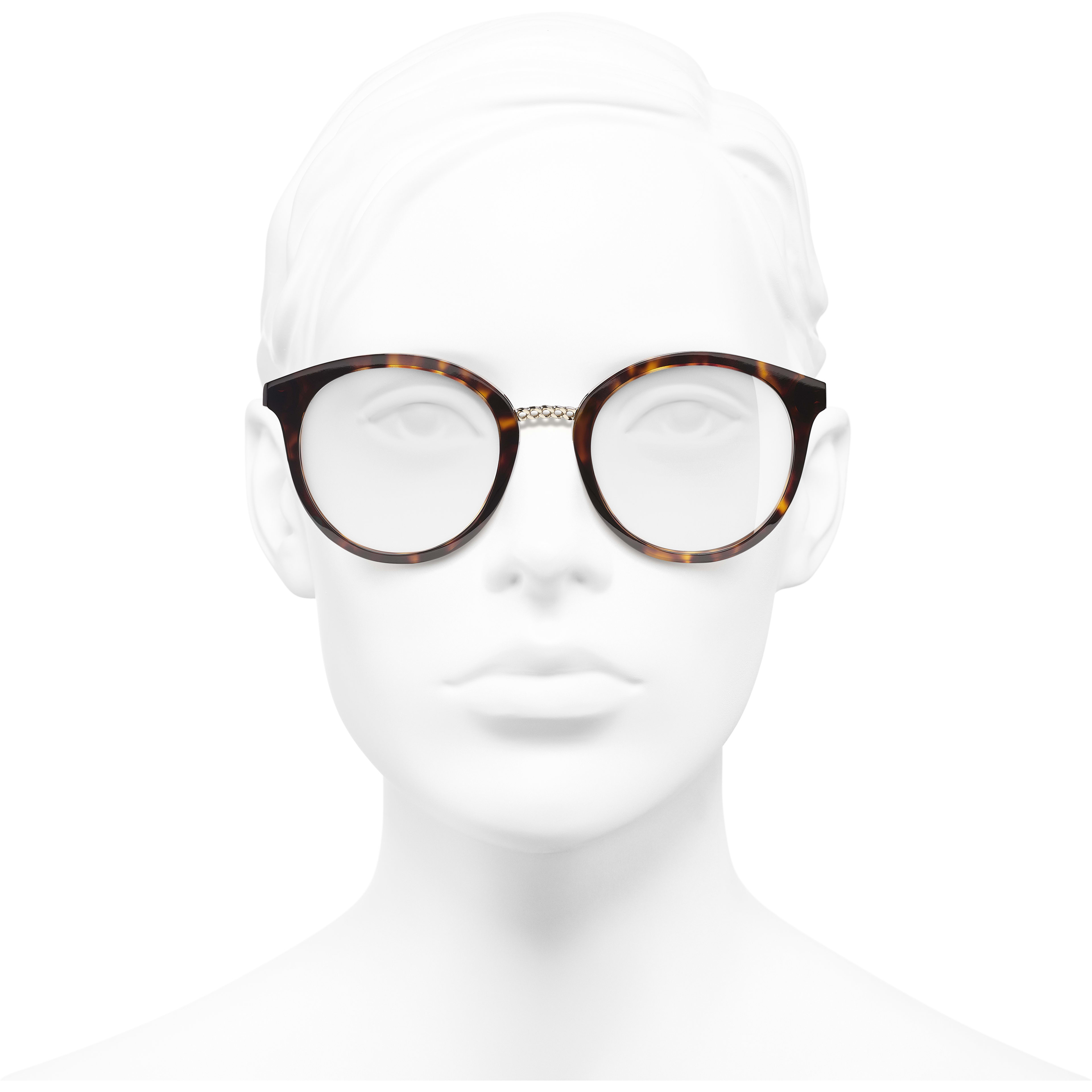 Pantos Eyeglasses - Dark Tortoise - Acetate & Metal - Worn front view - see standard sized version
