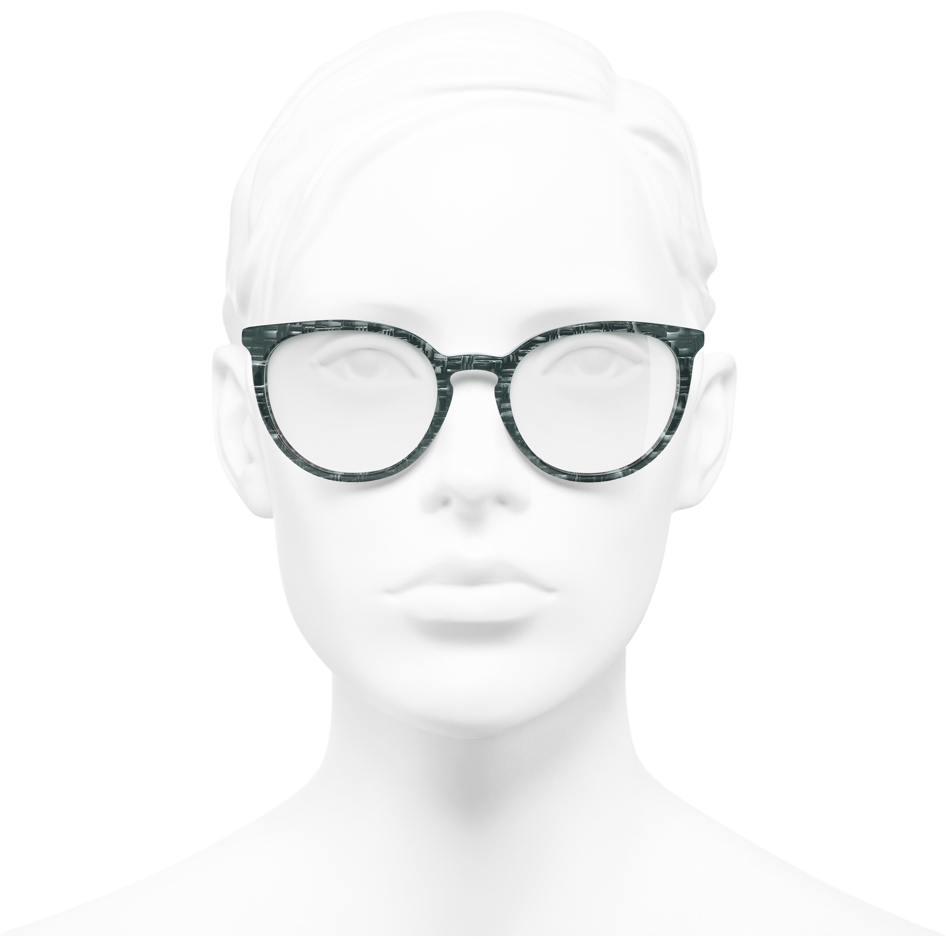 Pantos Eyeglasses - Glittered Green - Acetate & Imitation Pearls - Worn front view - see standard sized version