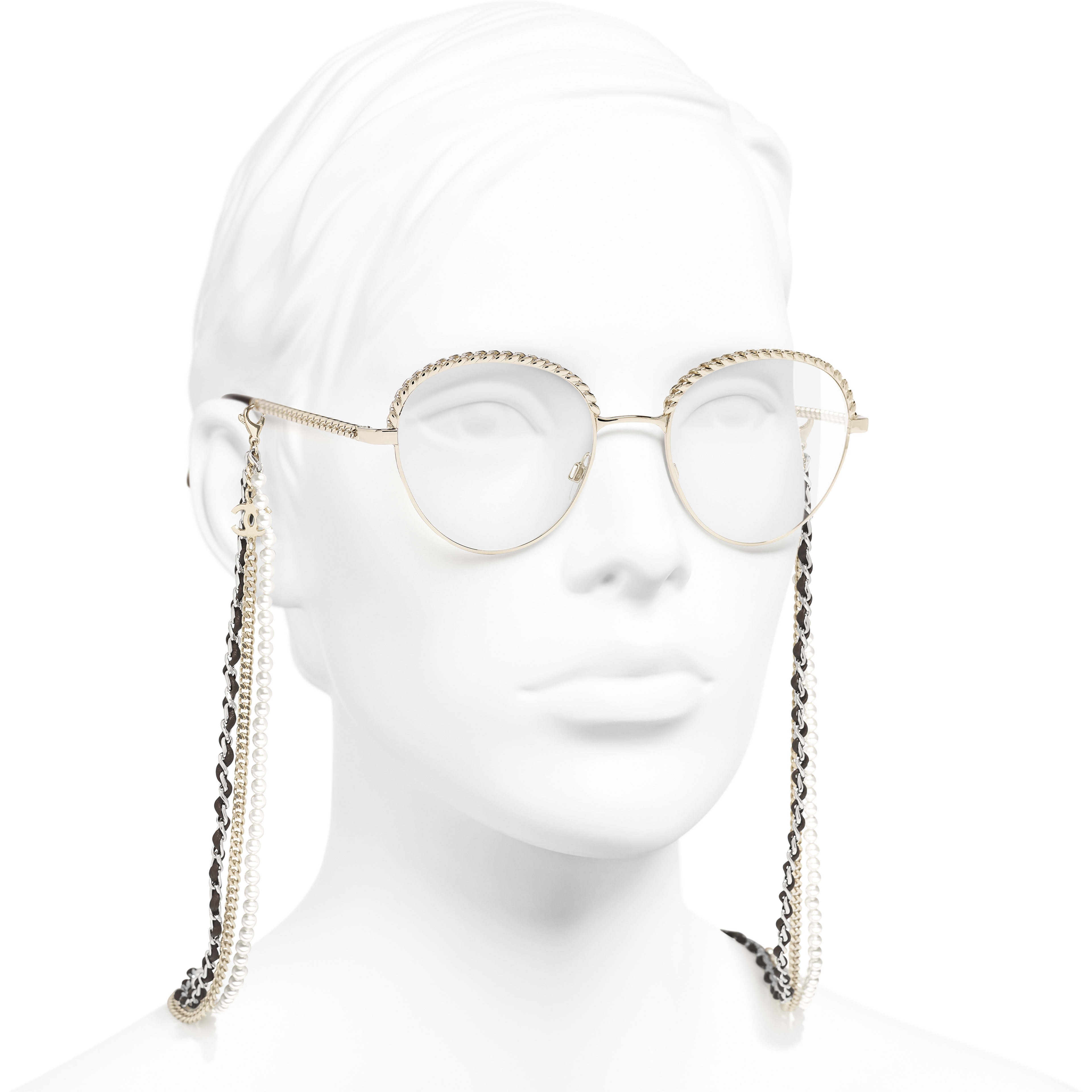 Pantos Eyeglasses - Gold - Metal, Calfskin & Imitation Pearls - CHANEL - Worn 3/4 view - see standard sized version