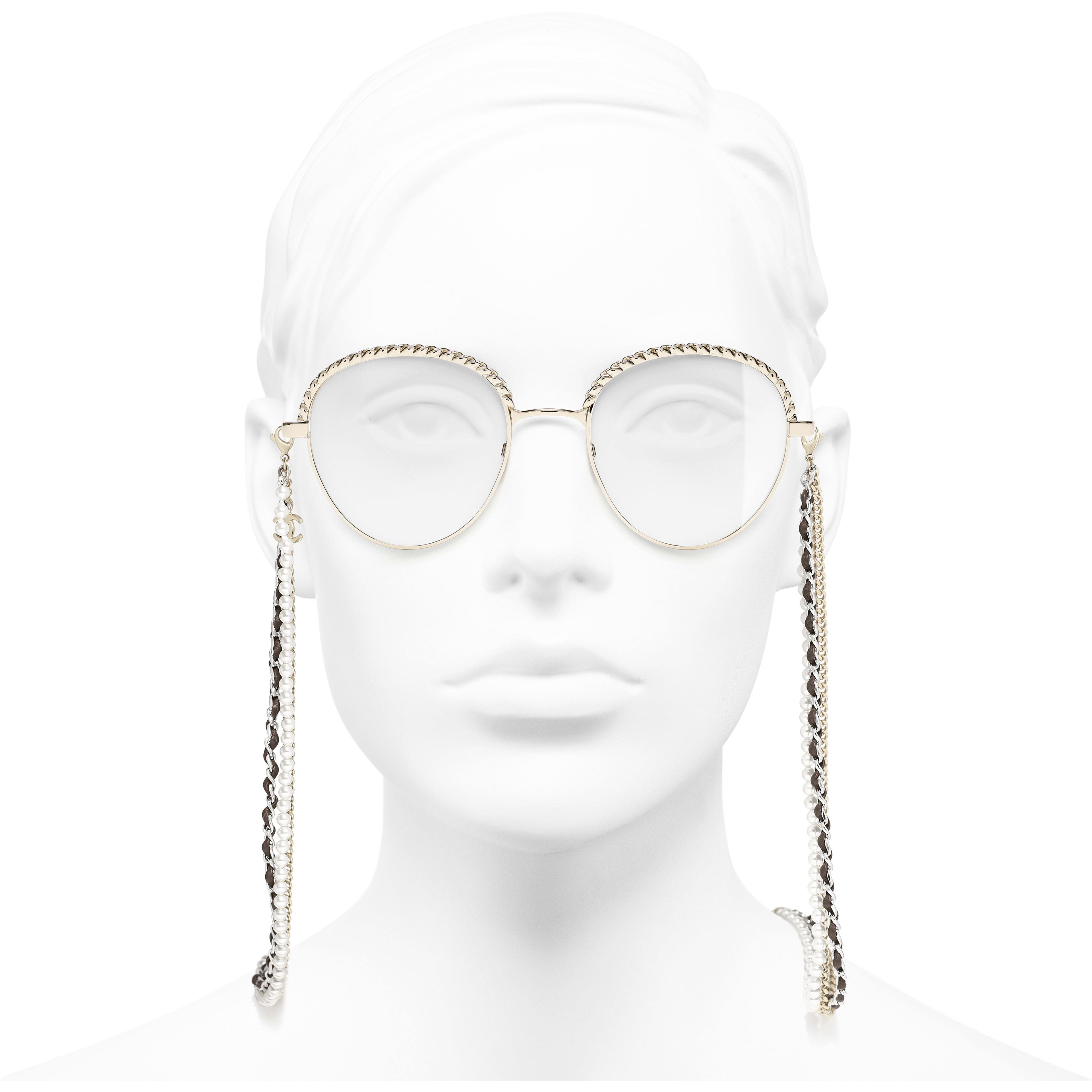 Pantos Eyeglasses - Gold - Metal, Calfskin & Imitation Pearls - CHANEL - Worn front view - see standard sized version