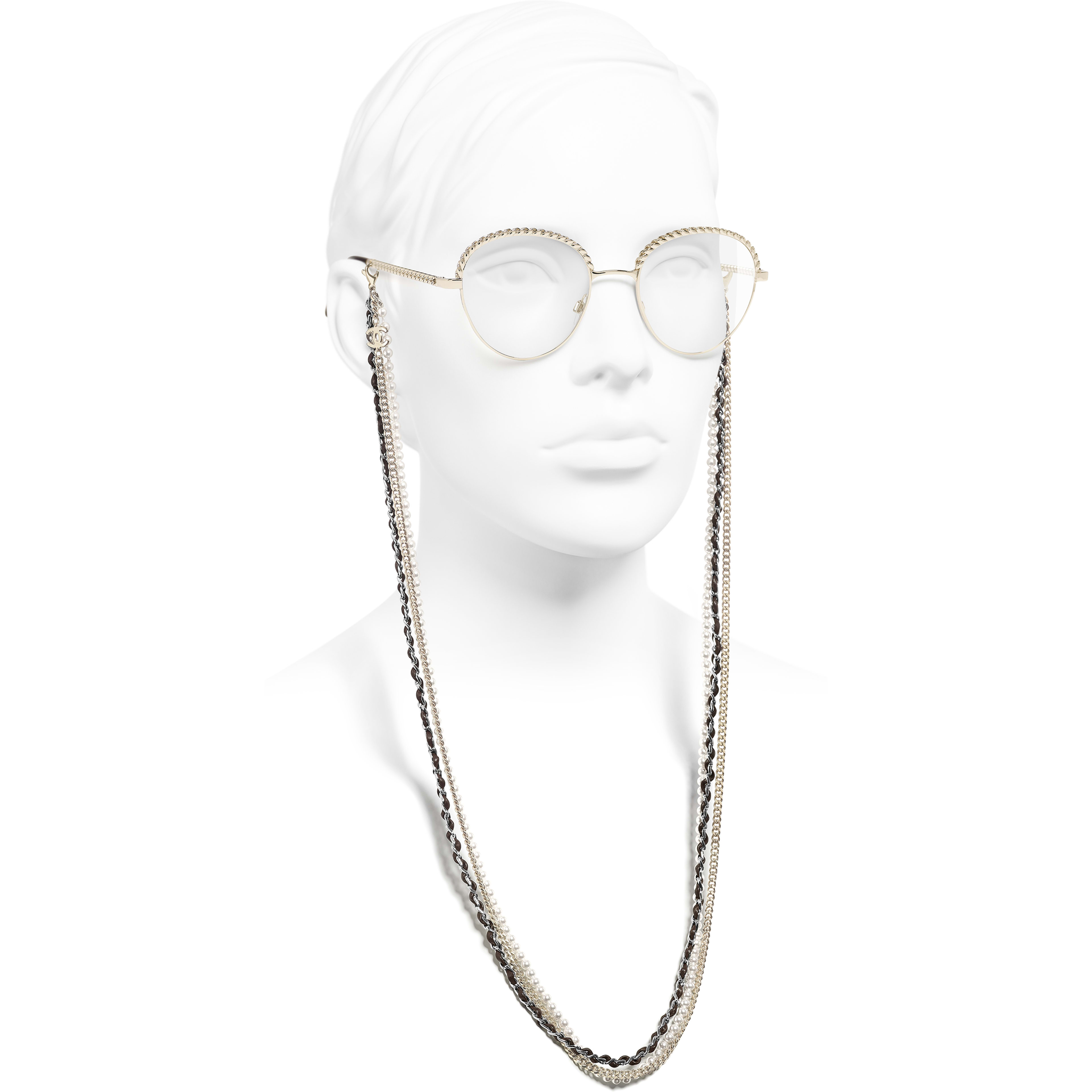 Pantos Eyeglasses - Gold - Metal, Calfskin & Imitation Pearls - CHANEL - Worn side view - see standard sized version