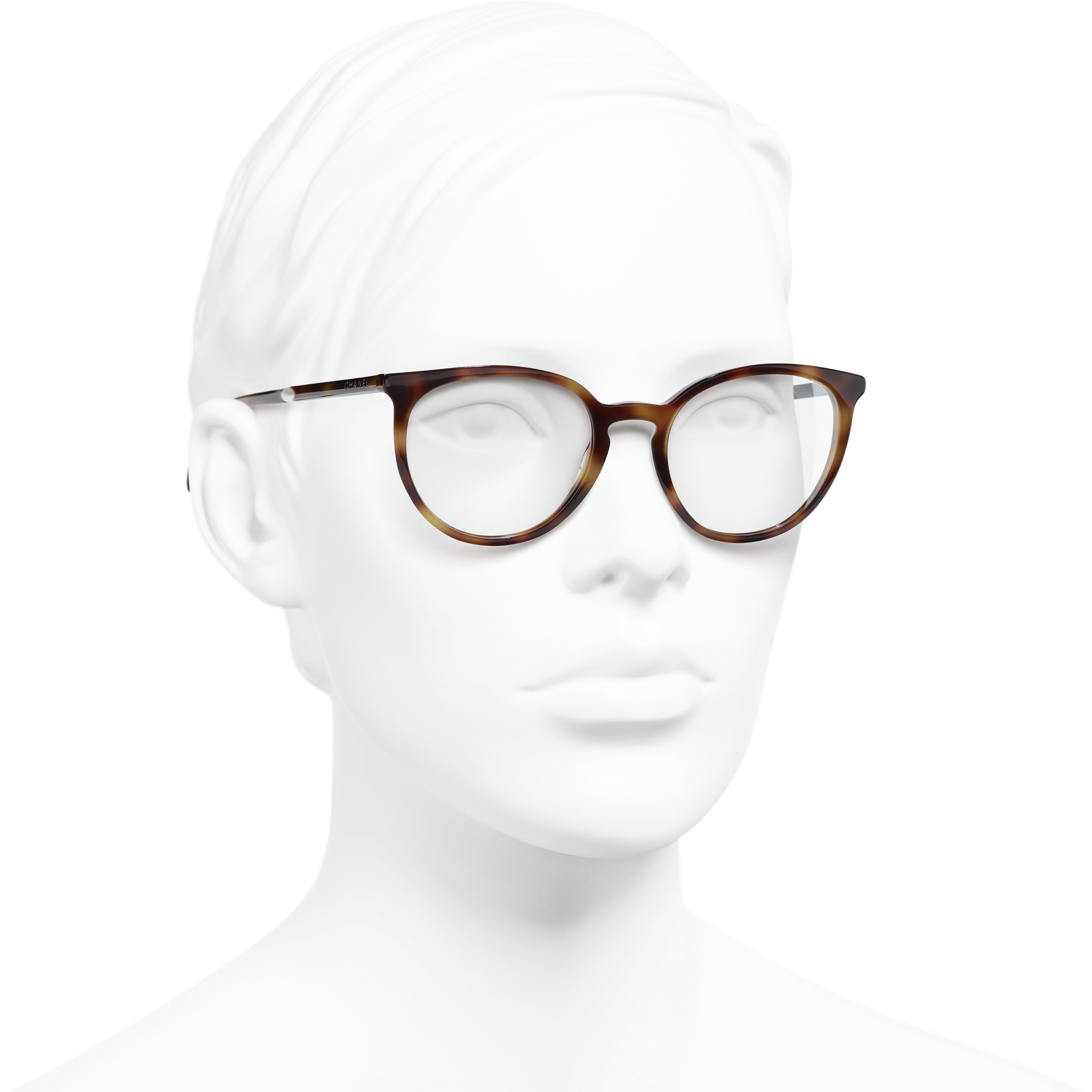 Pantos Eyeglasses - Light Tortoise - Acetate & Imitation Pearls - CHANEL - Worn 3/4 view - see standard sized version