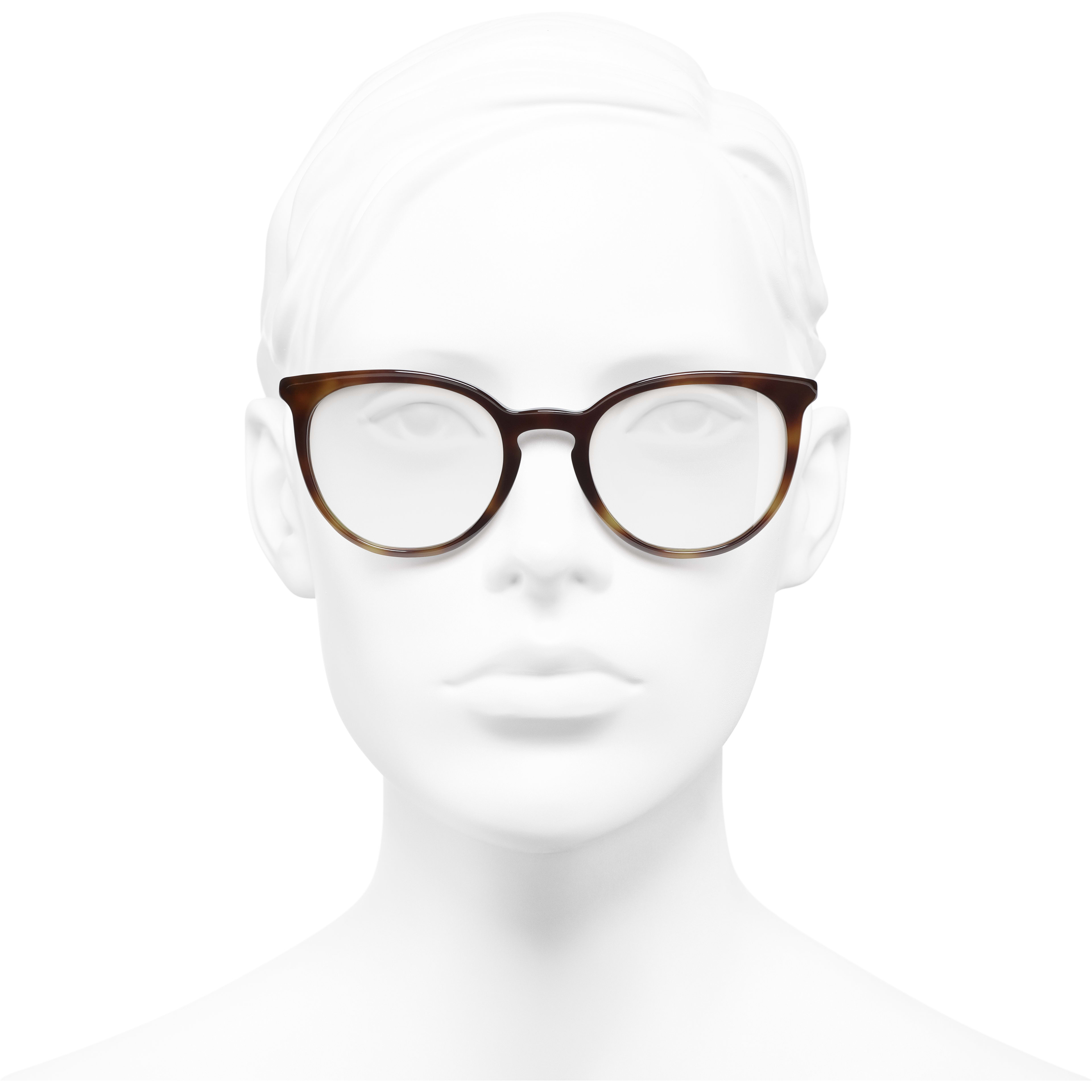 Pantos Eyeglasses - Light Tortoise - Acetate & Imitation Pearls - CHANEL - Worn front view - see standard sized version