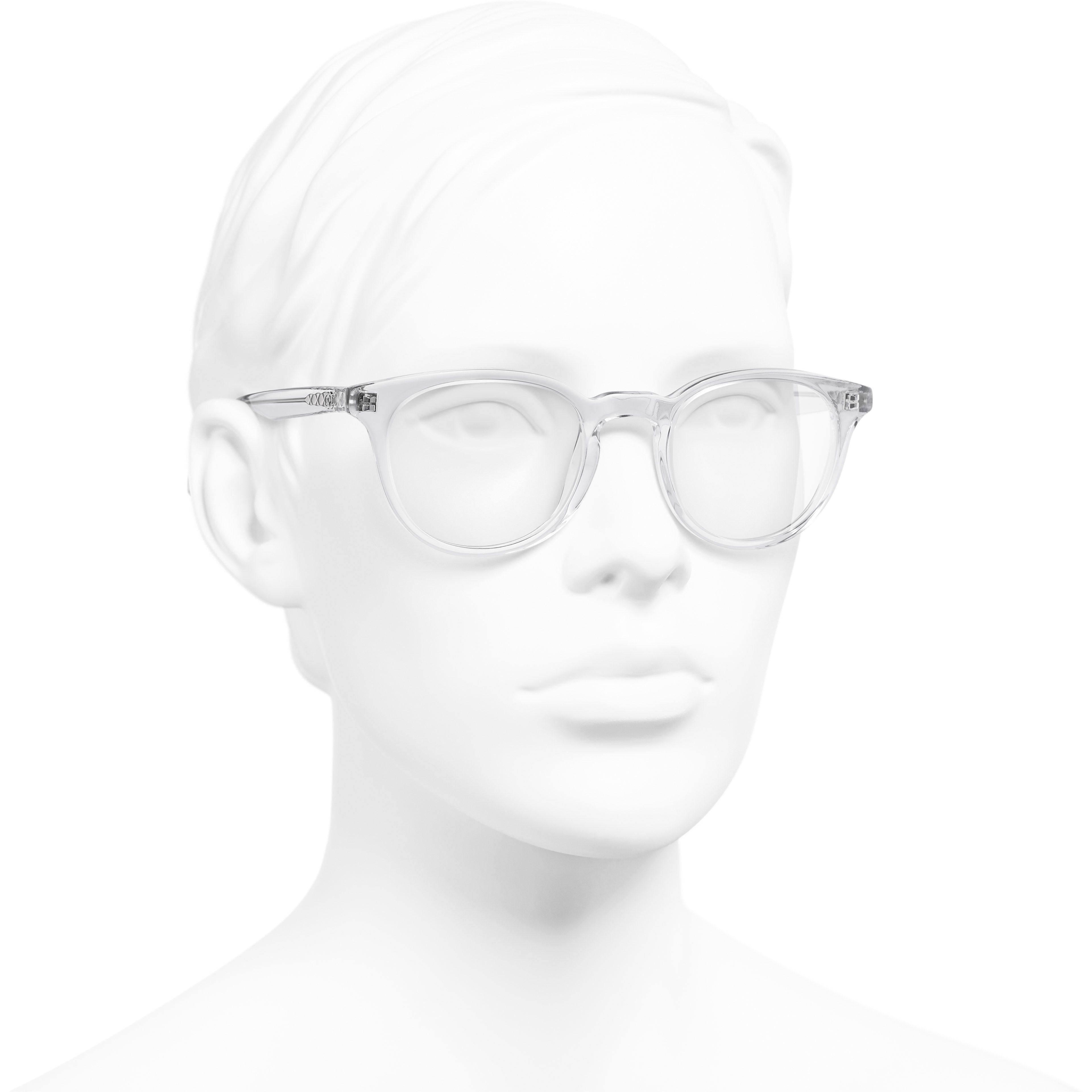 Pantos Eyeglasses - Transparent - Acetate - Worn 3/4 view - see standard sized version