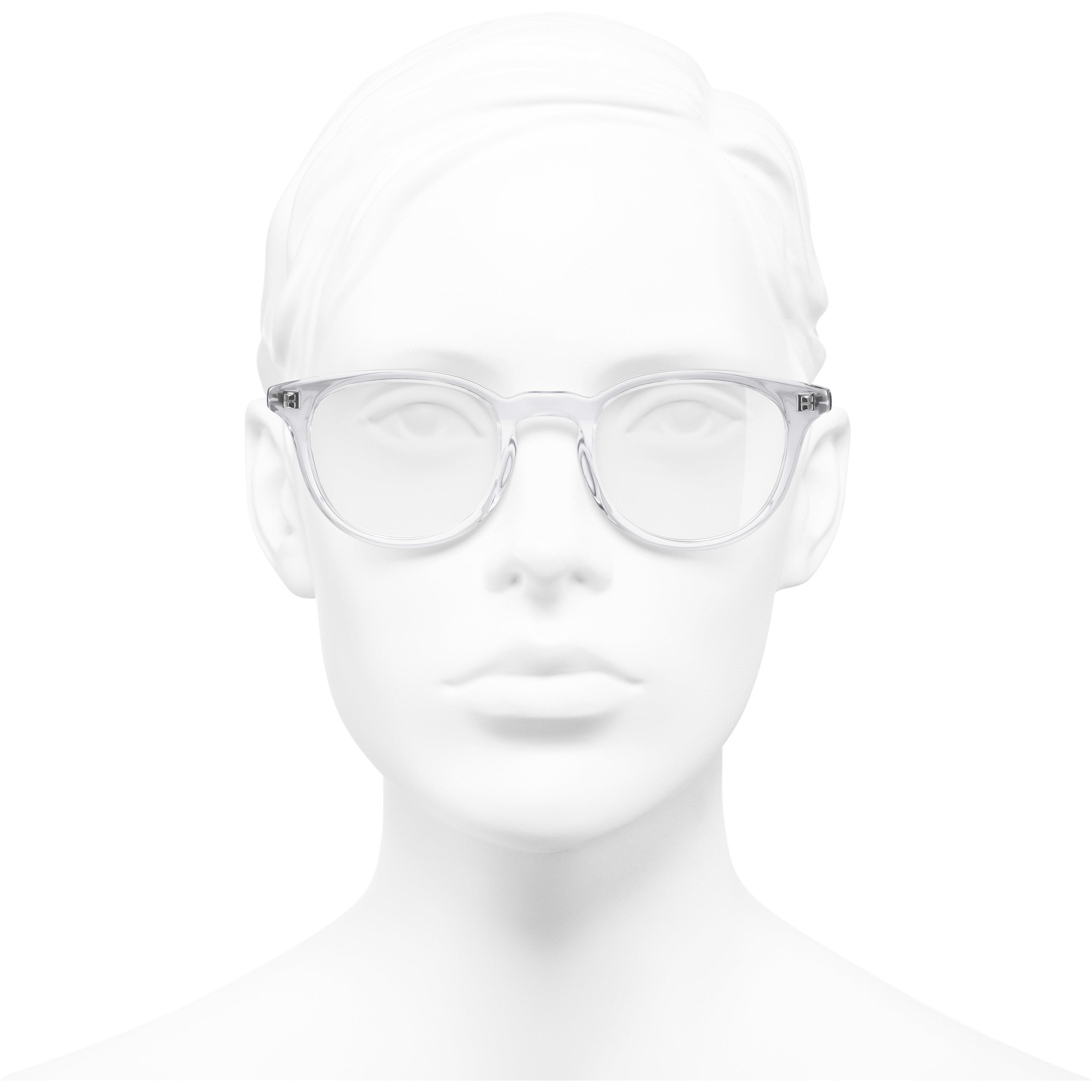 Pantos Eyeglasses - Transparent - Acetate - Worn front view - see standard sized version