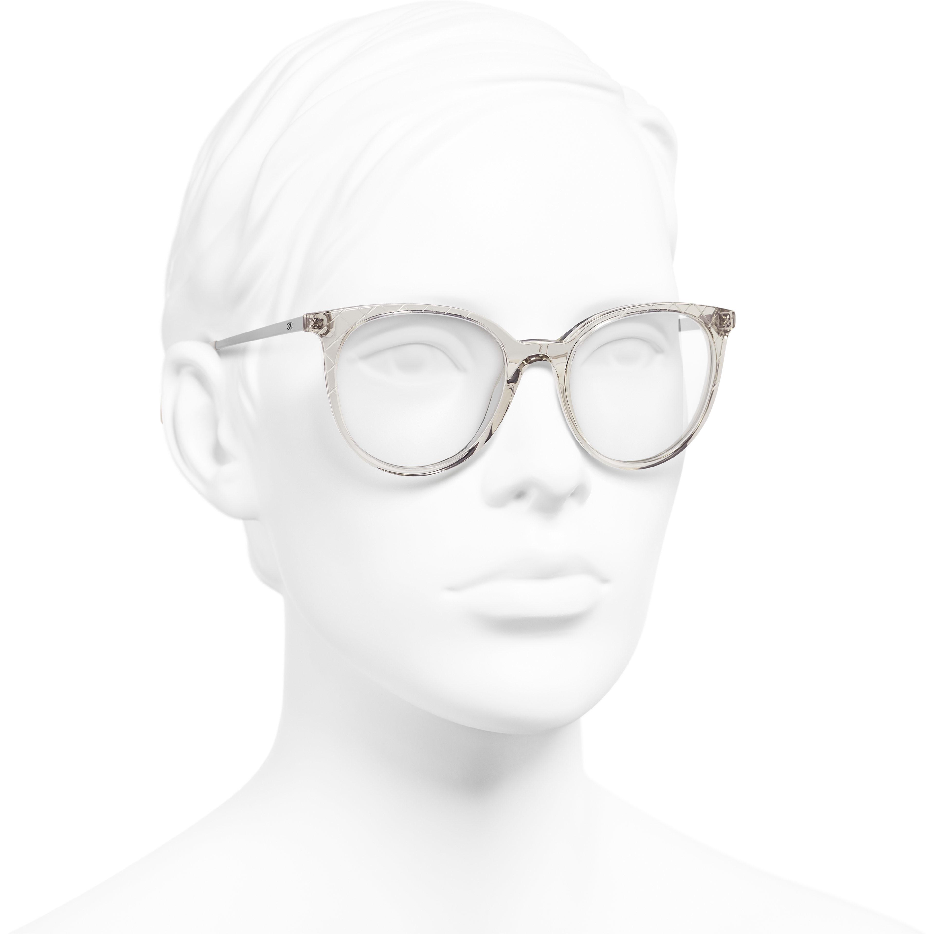 Pantos Eyeglasses - Transparent Beige - Acetate & Metal - Worn 3/4 view - see standard sized version