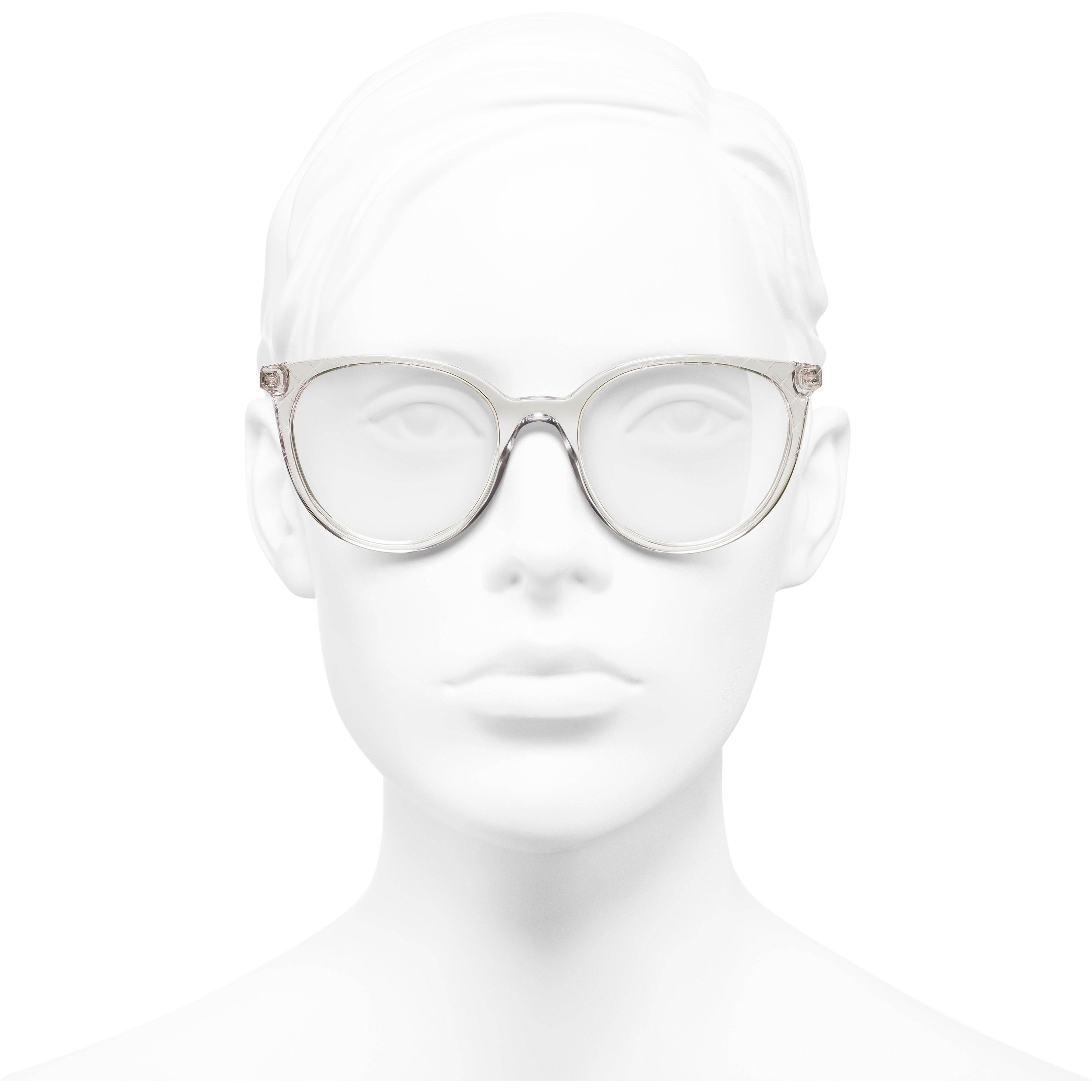 Pantos Eyeglasses - Transparent Beige - Acetate & Metal - Worn front view - see standard sized version