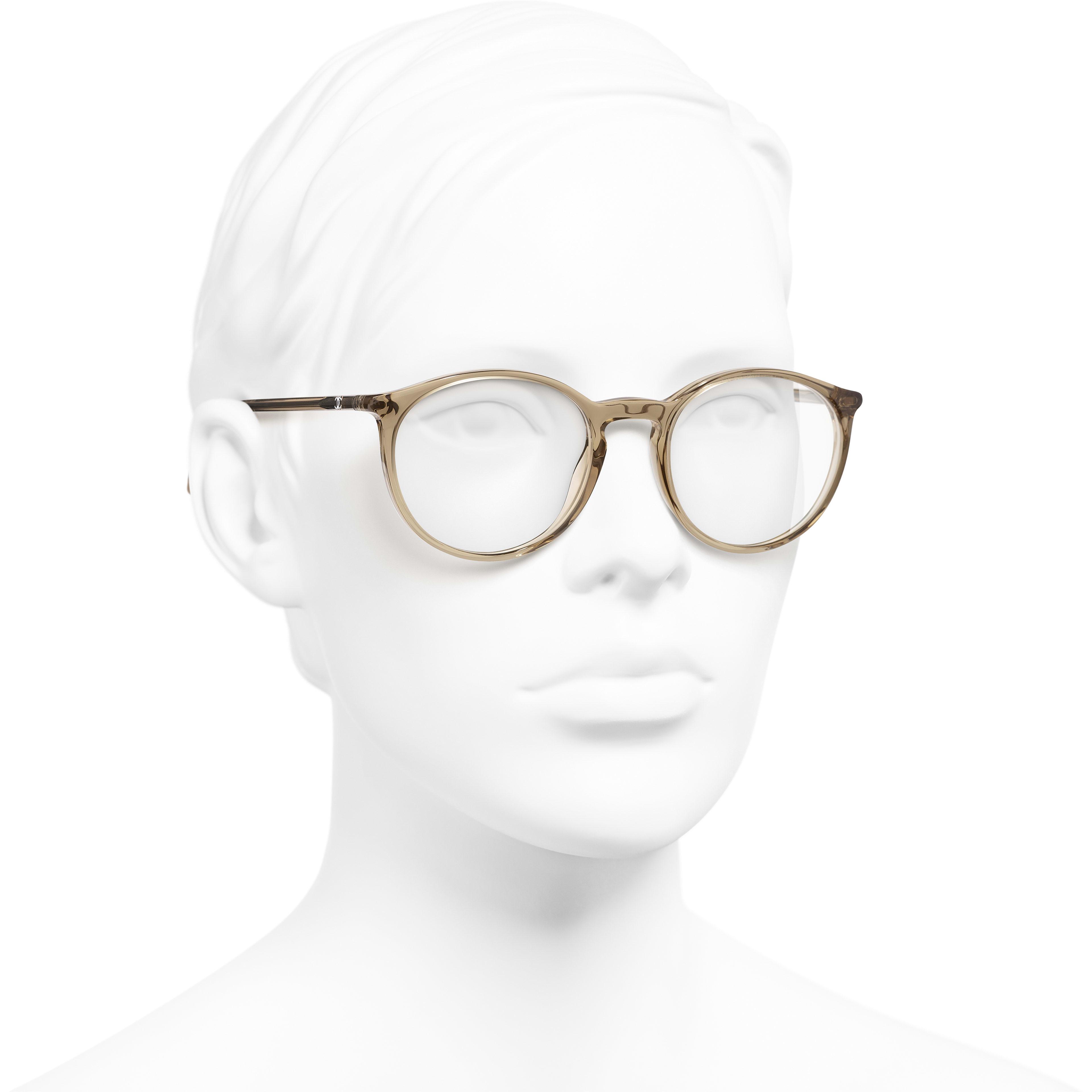 Pantos Eyeglasses - Transparent Brown - Acetate - Worn 3/4 view - see standard sized version