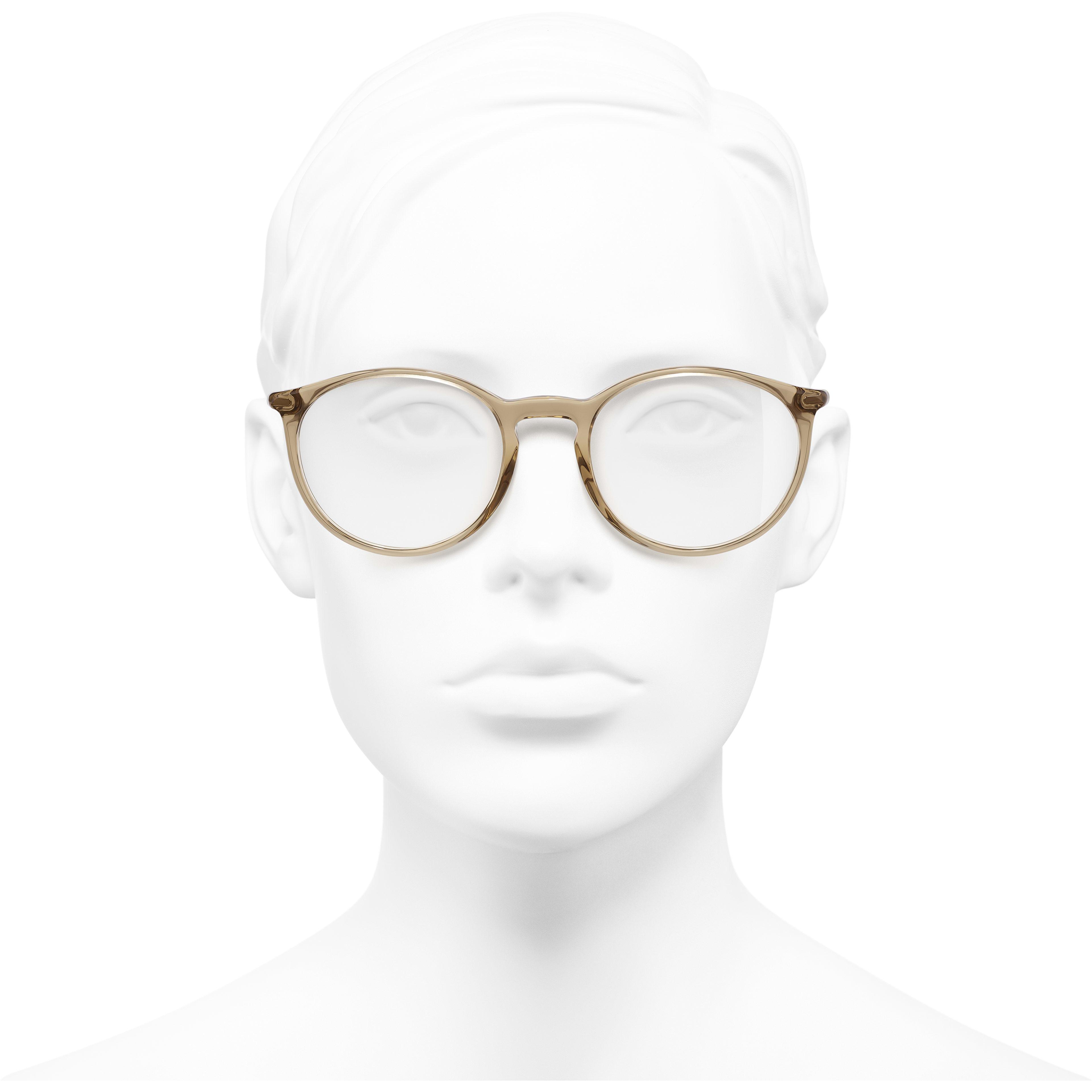 Pantos Eyeglasses - Transparent Brown - Acetate - Worn front view - see standard sized version