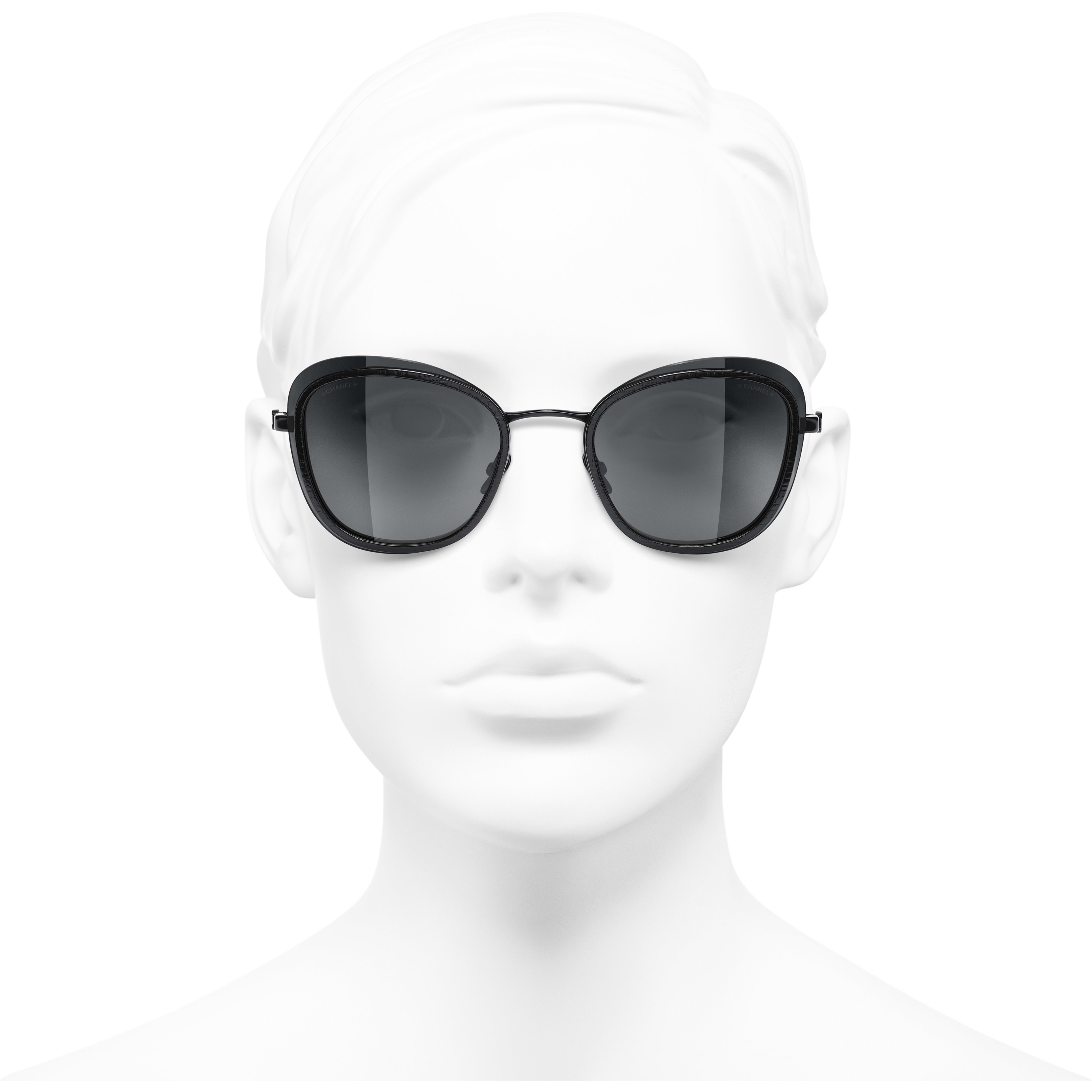 Pantos Sunglasses - Black - Acetate & Metal - CHANEL - Worn front view - see standard sized version