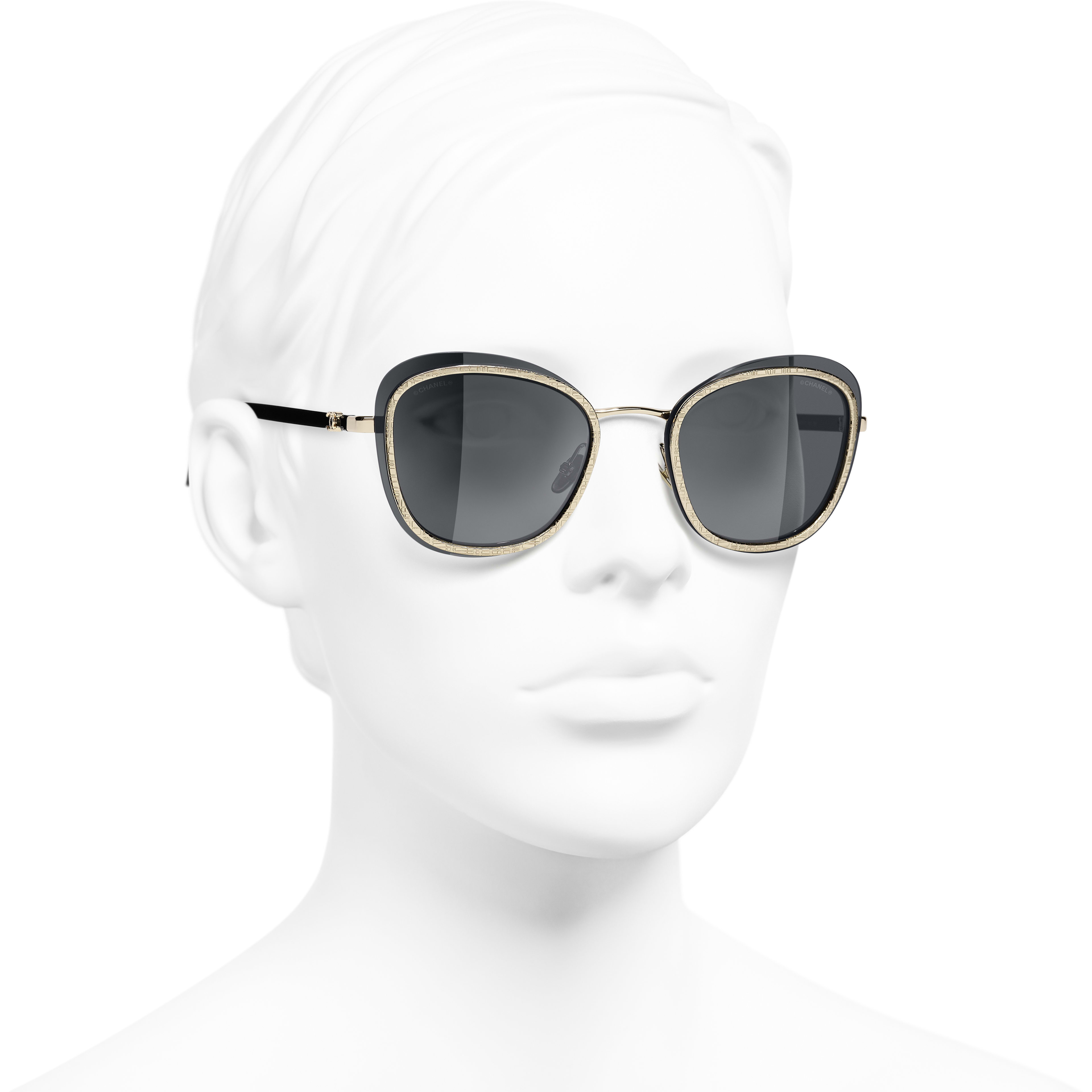 Pantos Sunglasses - Black & Gold - Acetate & Metal - CHANEL - Worn 3/4 view - see standard sized version