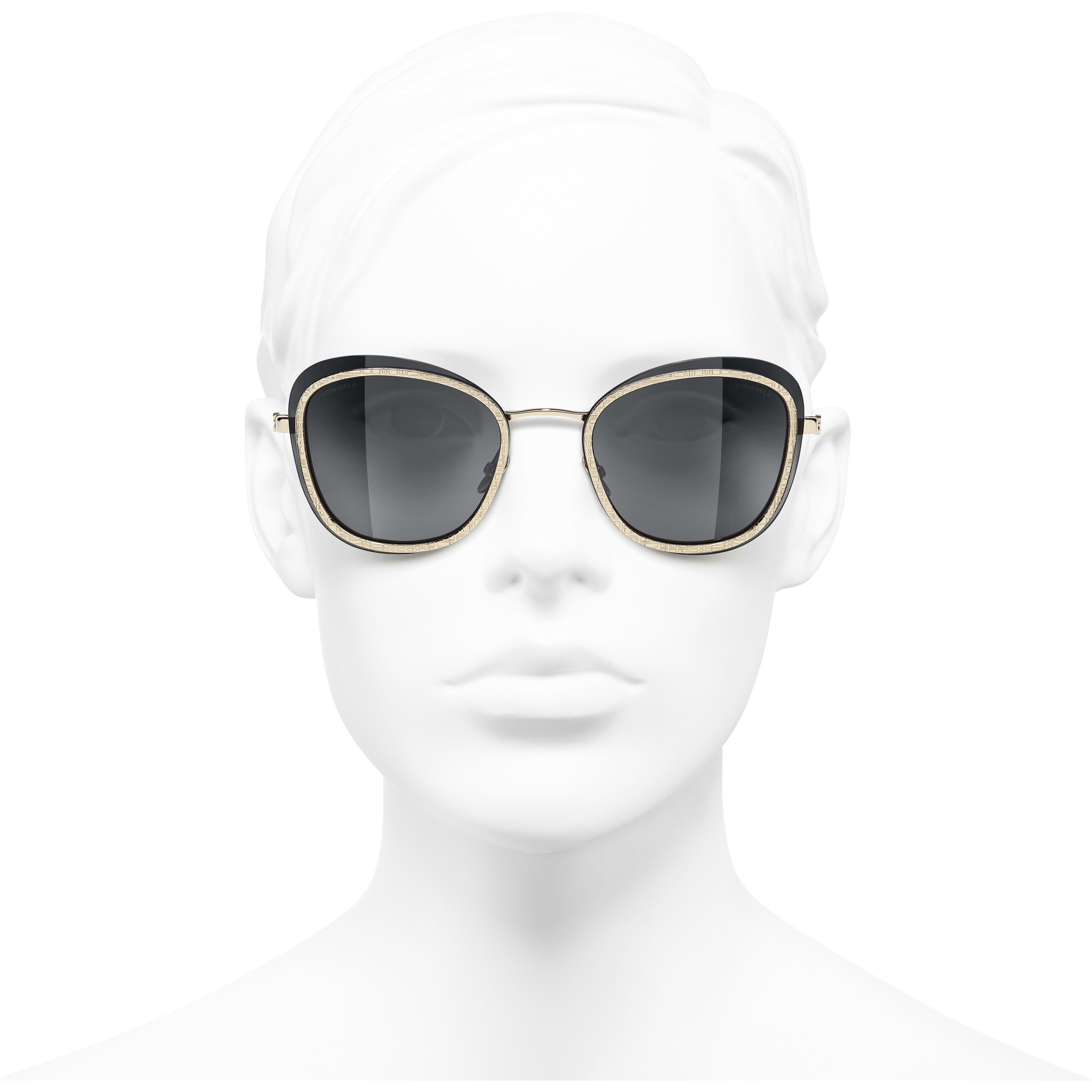 Pantos Sunglasses - Black & Gold - Acetate & Metal - CHANEL - Worn front view - see standard sized version