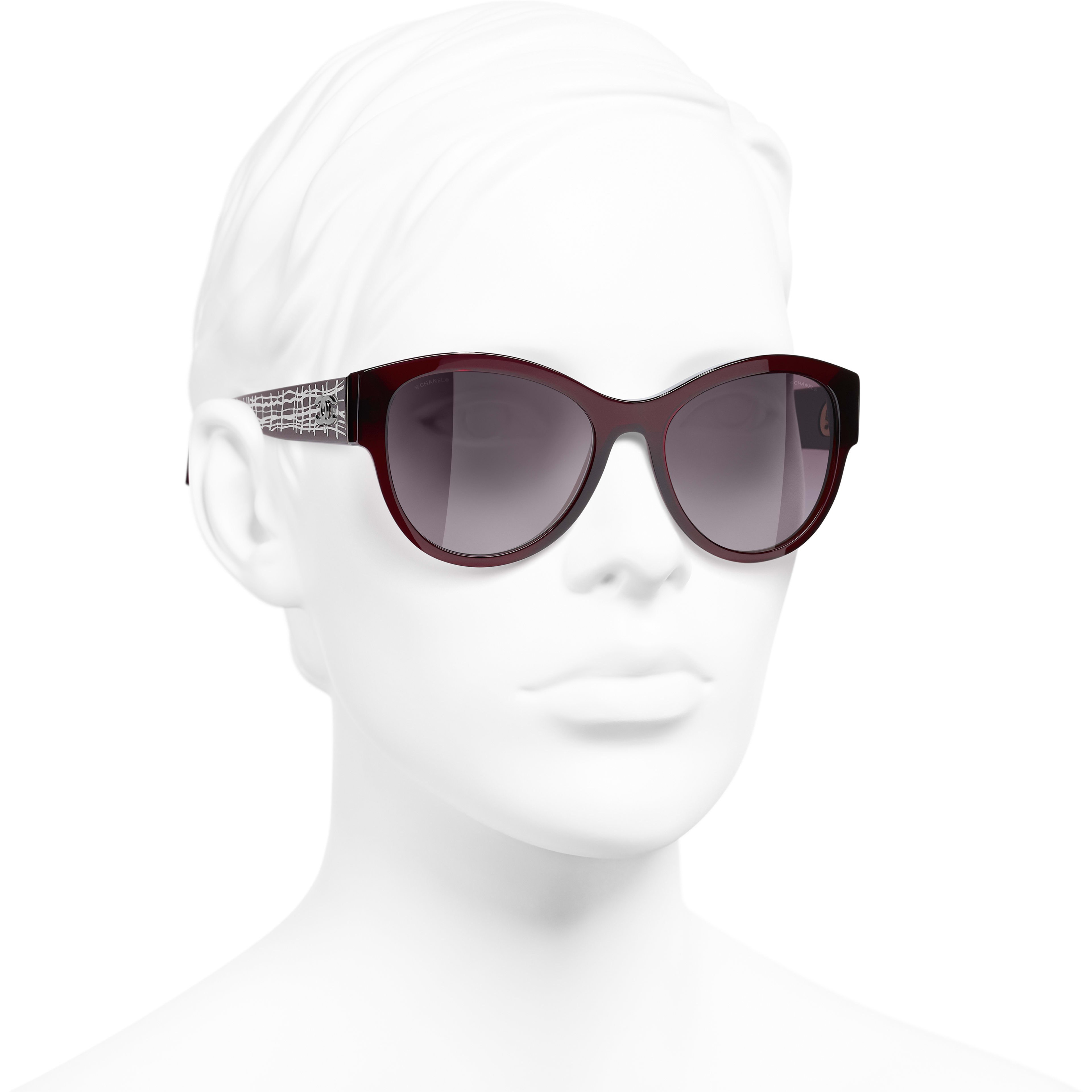Pantos Sunglasses - Dark Red - Acetate & Metal - CHANEL - Worn 3/4 view - see standard sized version