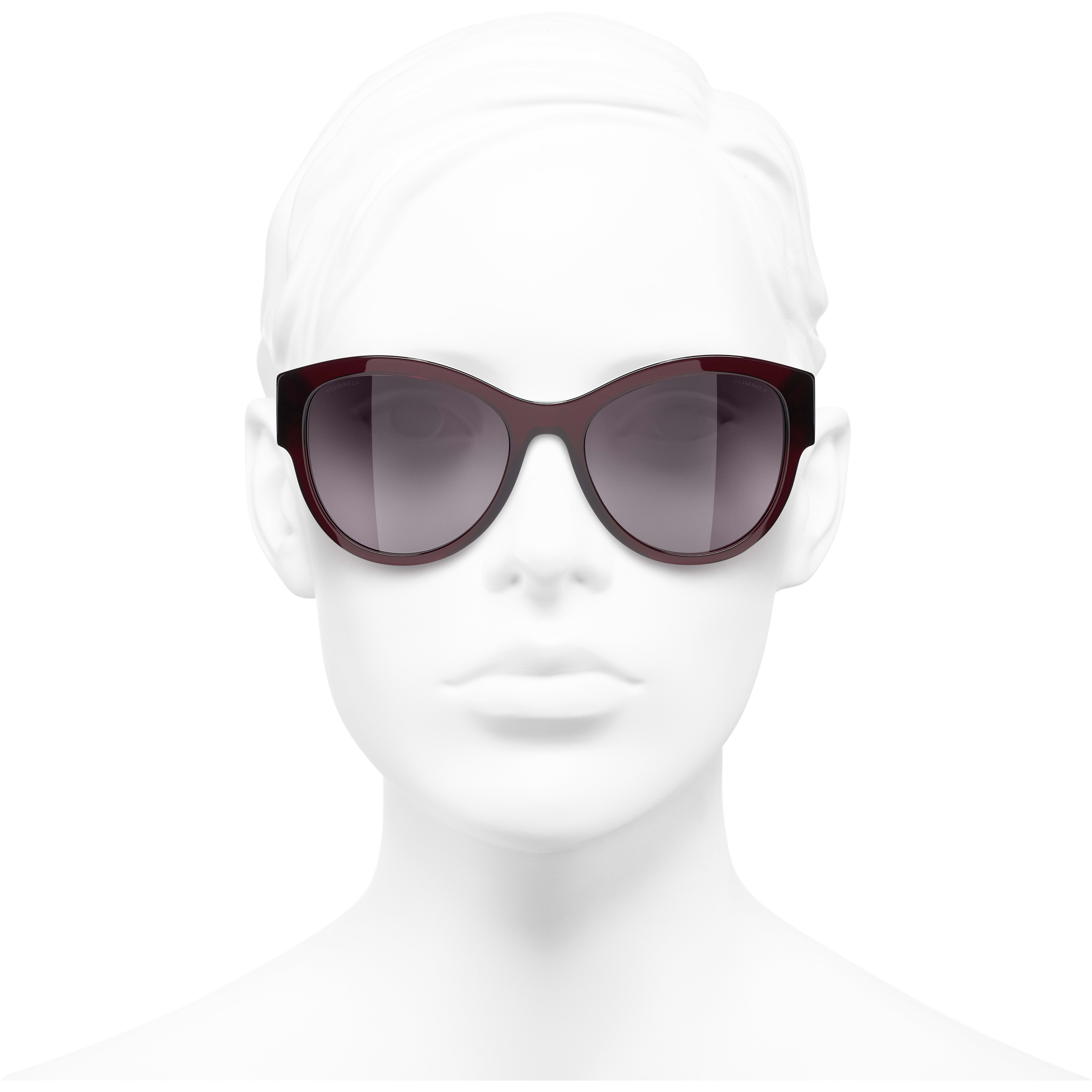 Pantos Sunglasses - Dark Red - Acetate & Metal - CHANEL - Worn front view - see standard sized version