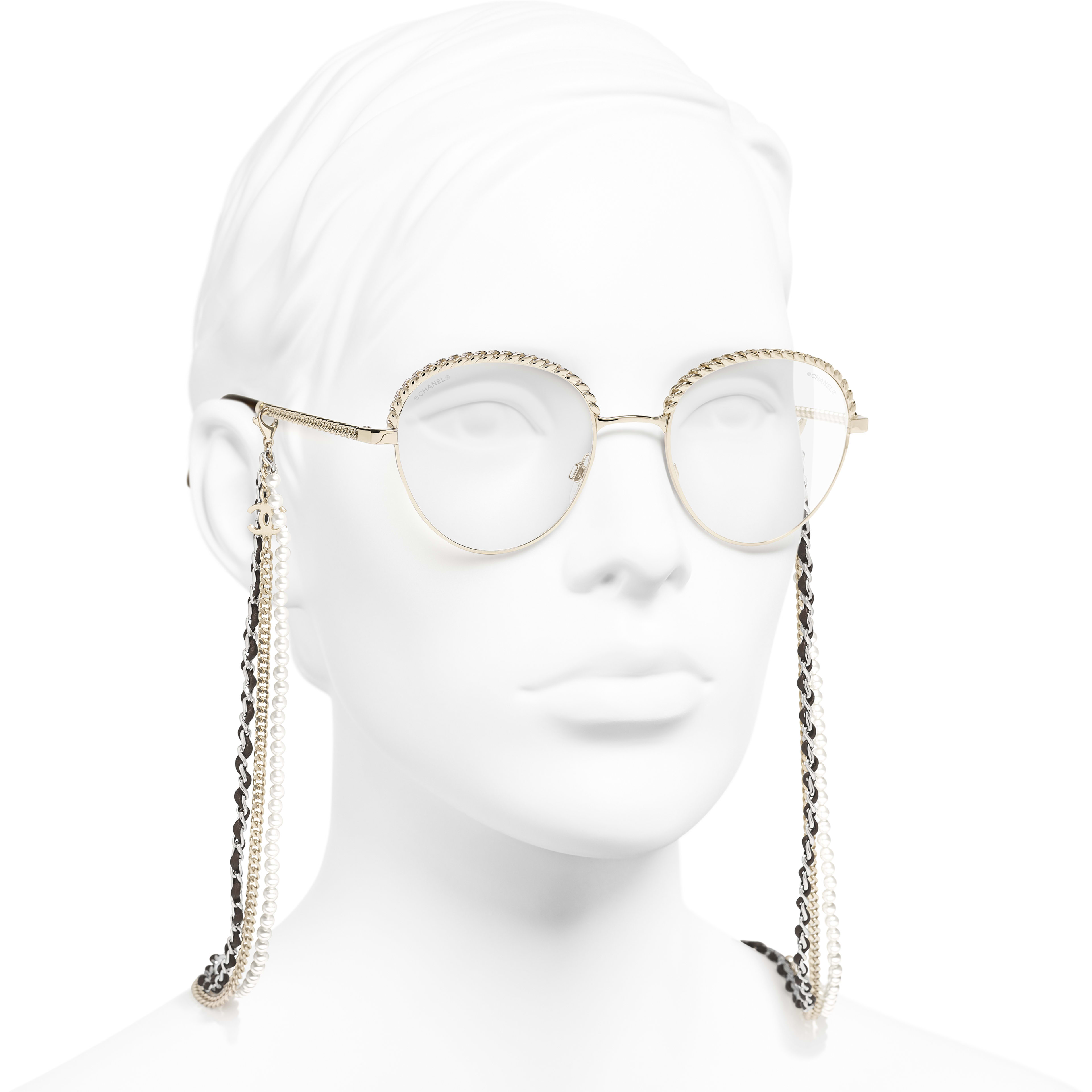 Pantos Sunglasses - Gold - Metal, Calfskin & Imitation Pearls - CHANEL - Worn 3/4 view - see standard sized version