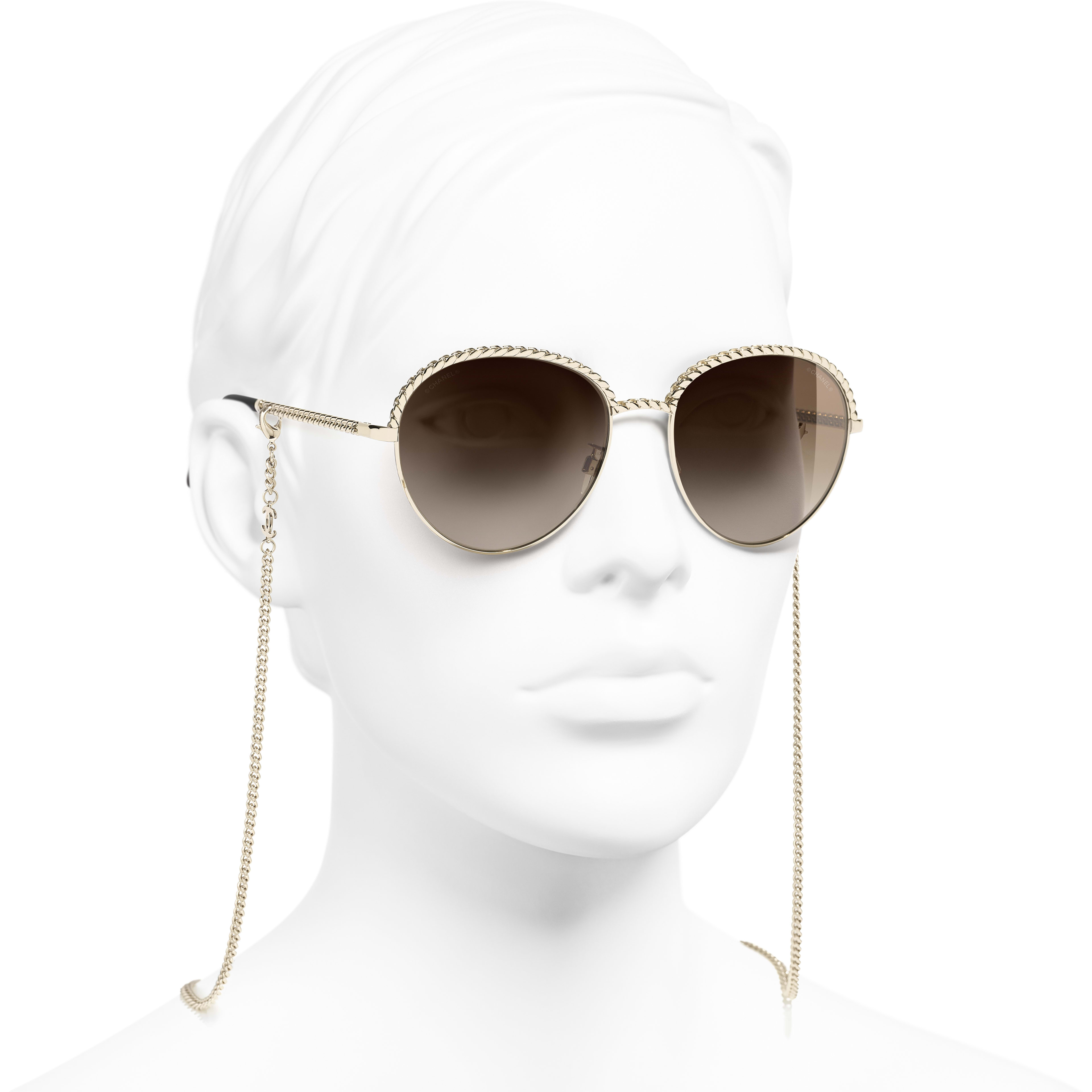 Pantos Sunglasses - Gold - Metal - CHANEL - Worn 3/4 view - see standard sized version