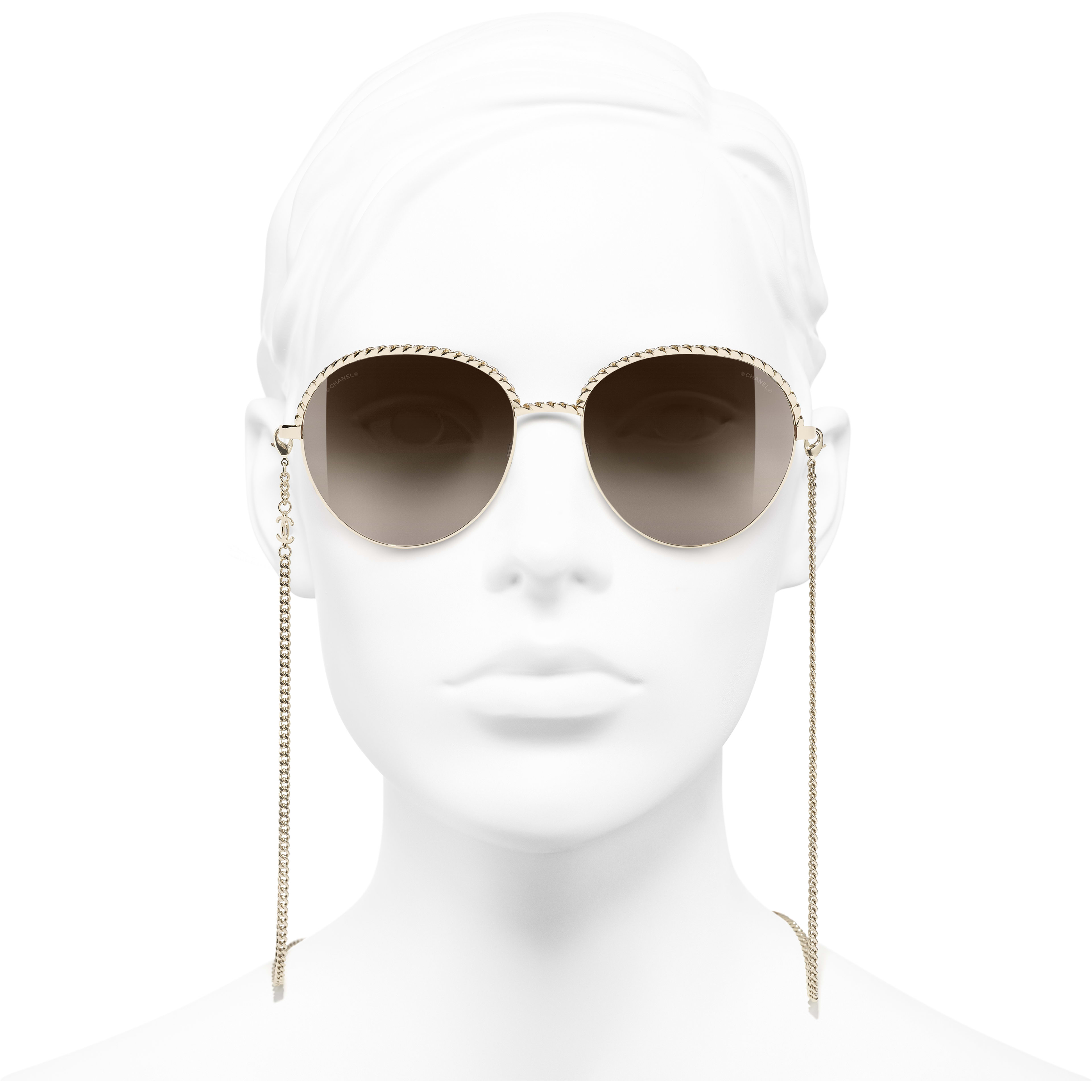 Pantos Sunglasses - Gold - Metal - CHANEL - Worn front view - see standard sized version