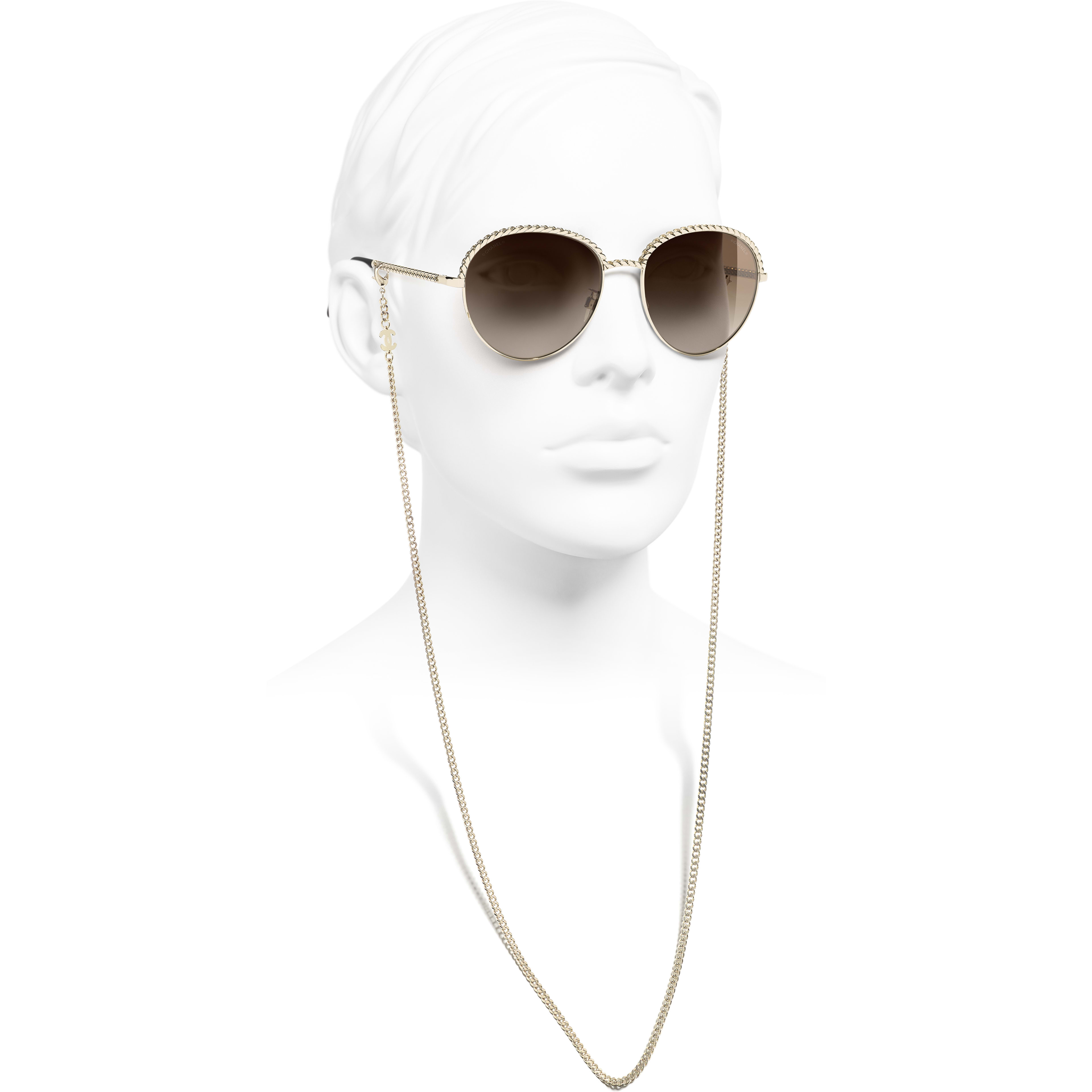 Pantos Sunglasses - Gold - Metal - CHANEL - Worn side view - see standard sized version