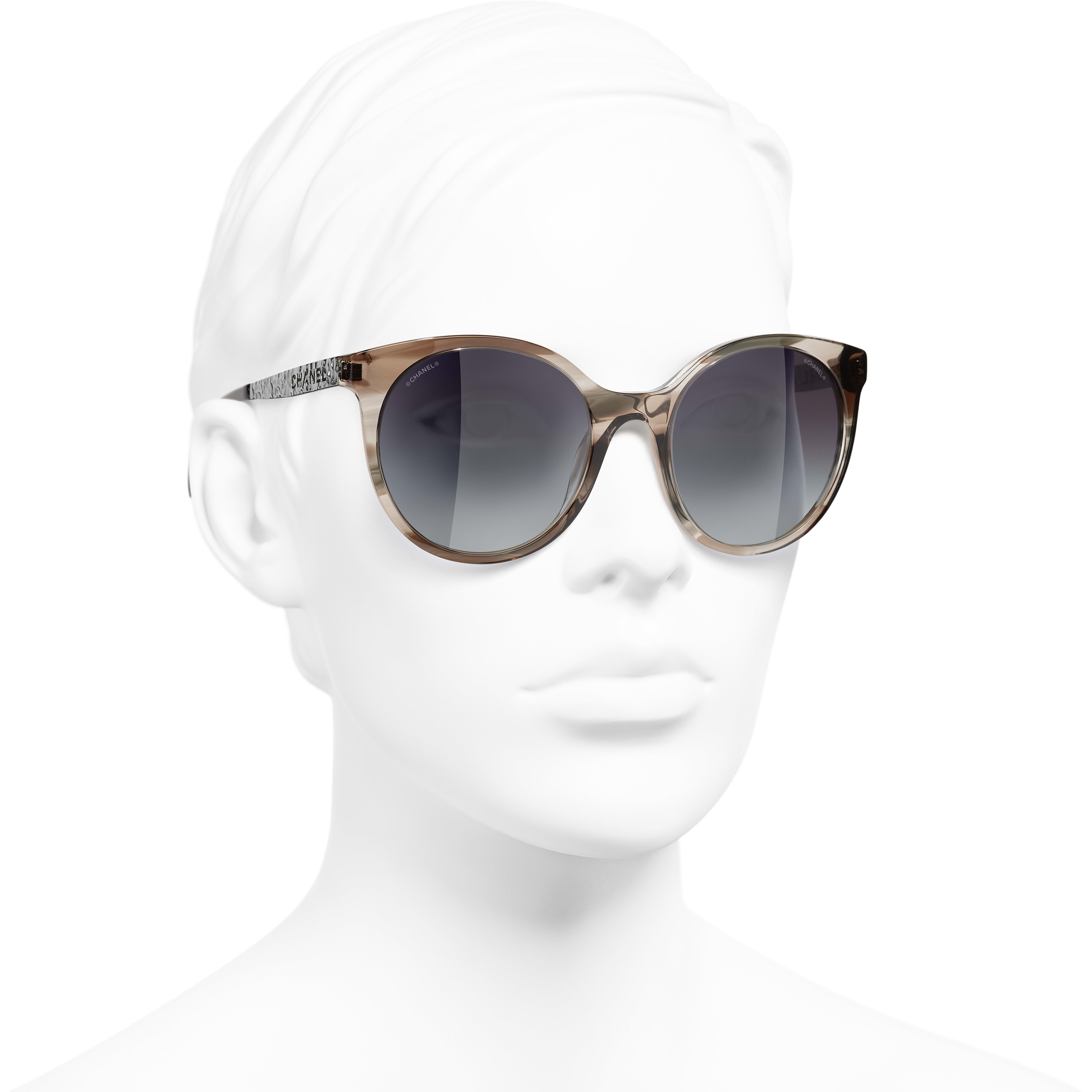 Pantos Sunglasses - Grey - Acetate & Metal - CHANEL - Worn 3/4 view - see standard sized version