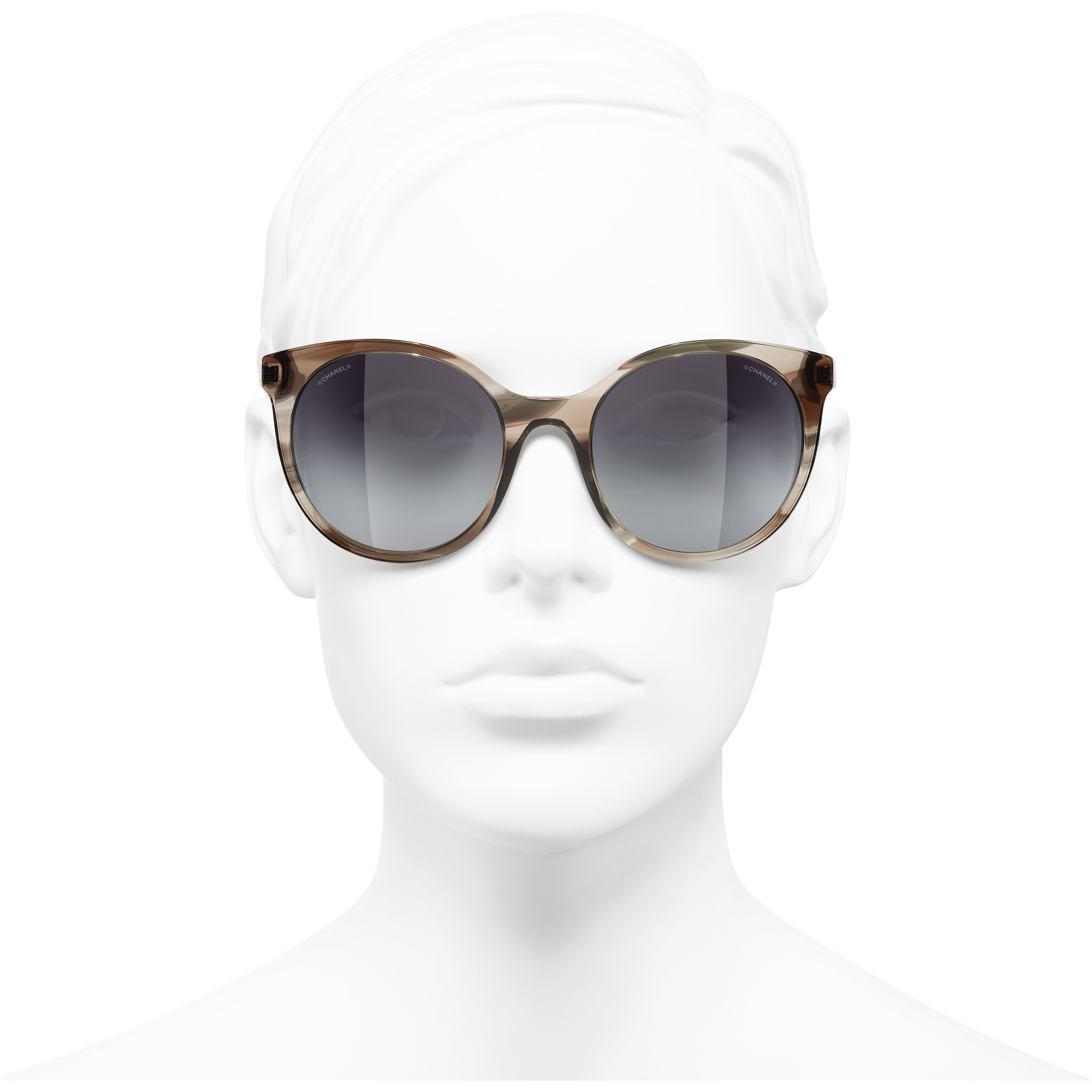 Pantos Sunglasses - Grey - Acetate & Metal - CHANEL - Worn front view - see standard sized version