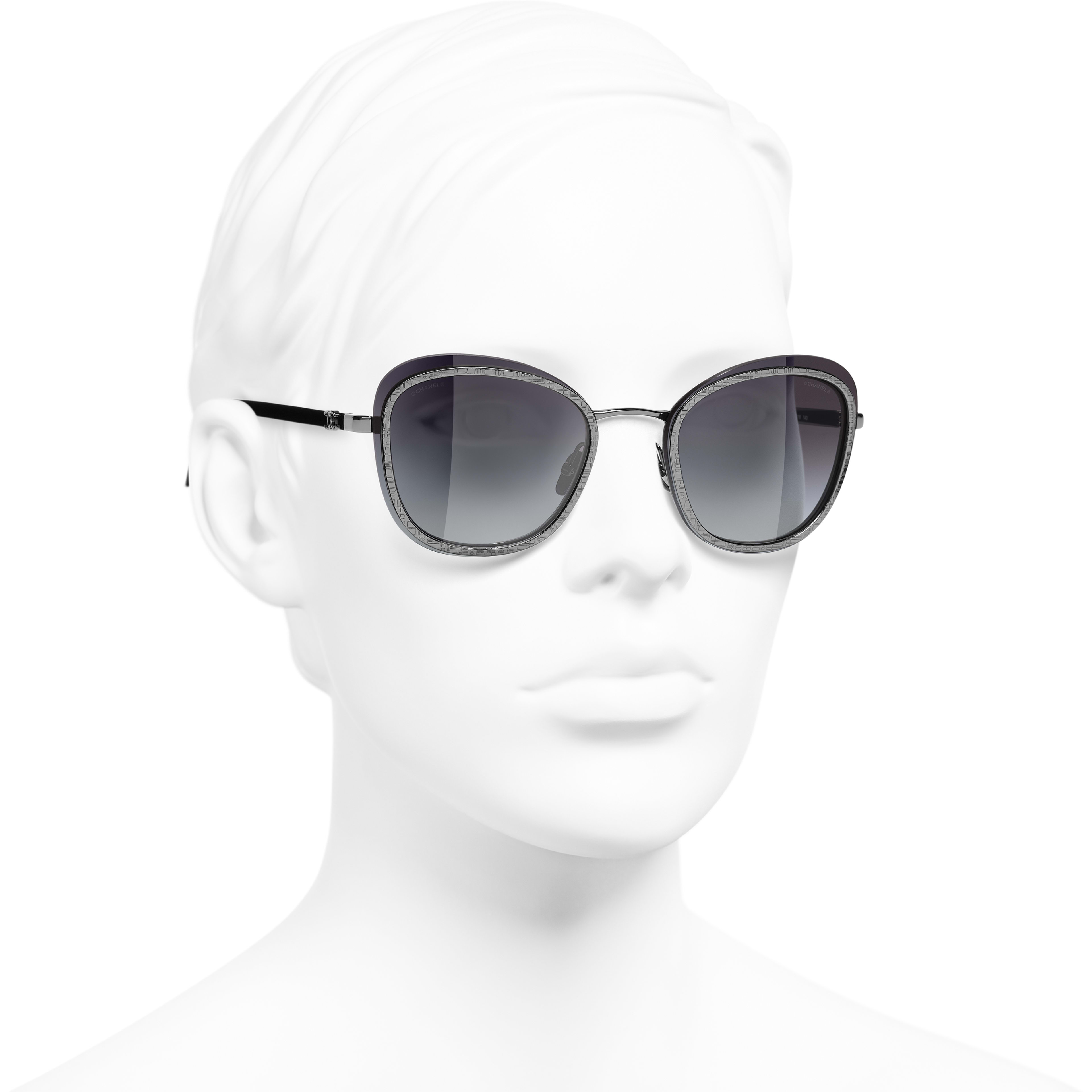 Pantos Sunglasses - Silver - Acetate & Metal - CHANEL - Worn 3/4 view - see standard sized version
