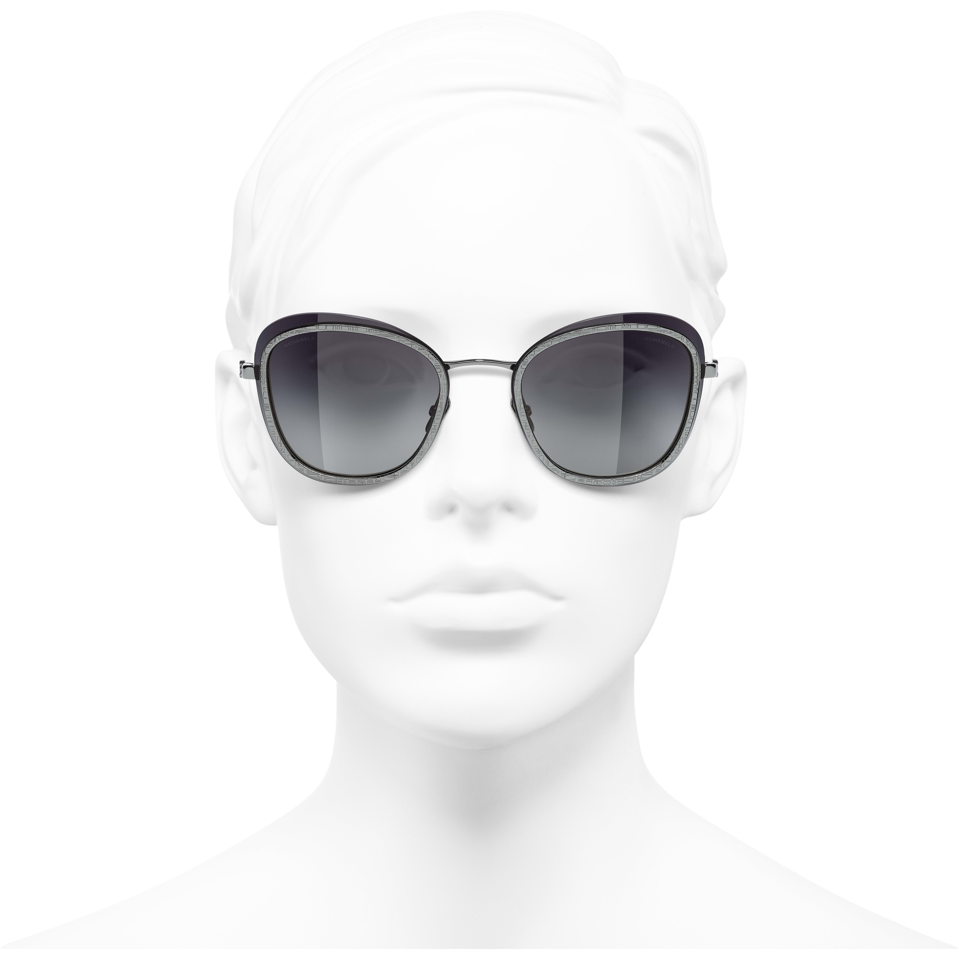 Pantos Sunglasses - Silver - Acetate & Metal - CHANEL - Worn front view - see standard sized version