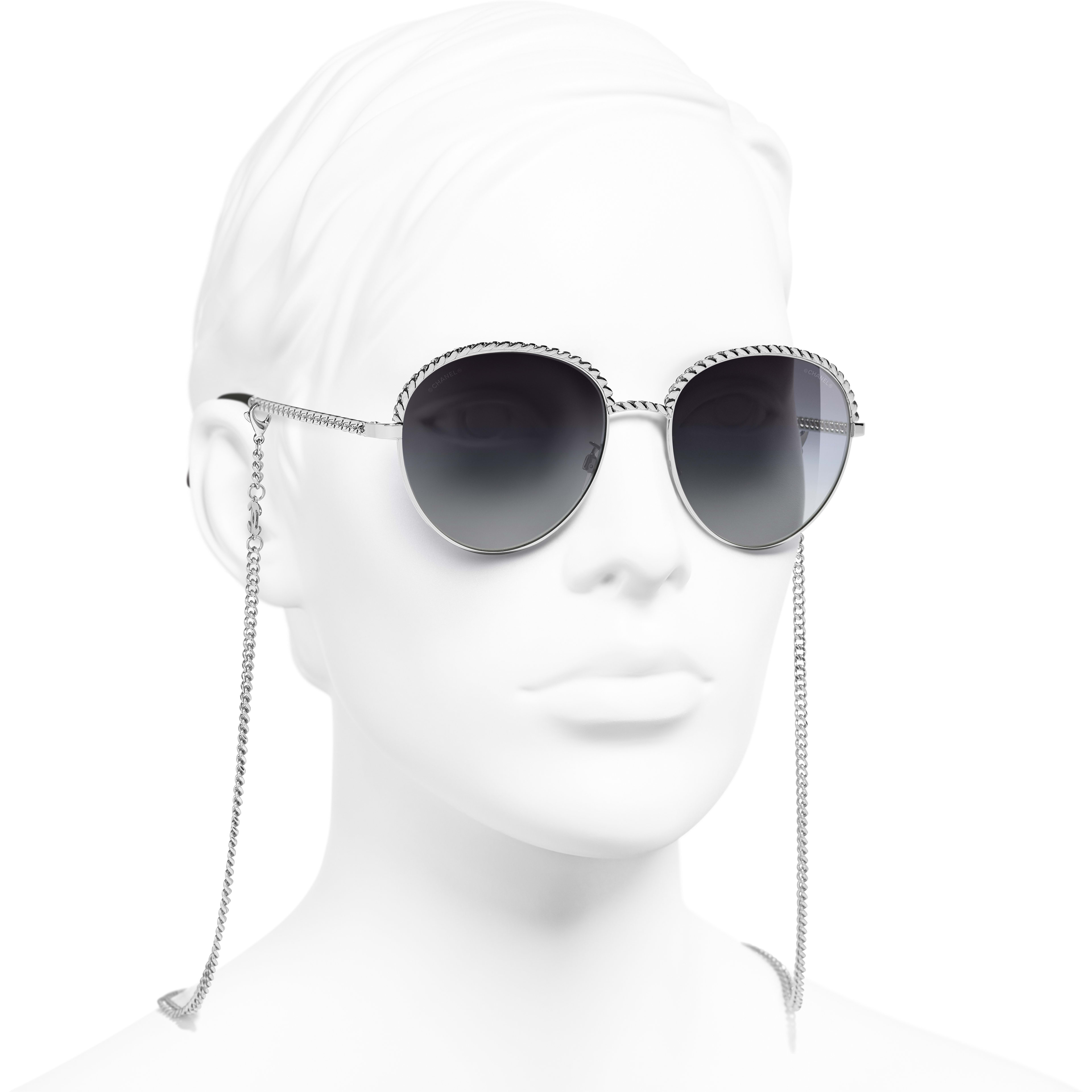 Pantos Sunglasses - Silver - Metal - CHANEL - Worn 3/4 view - see standard sized version