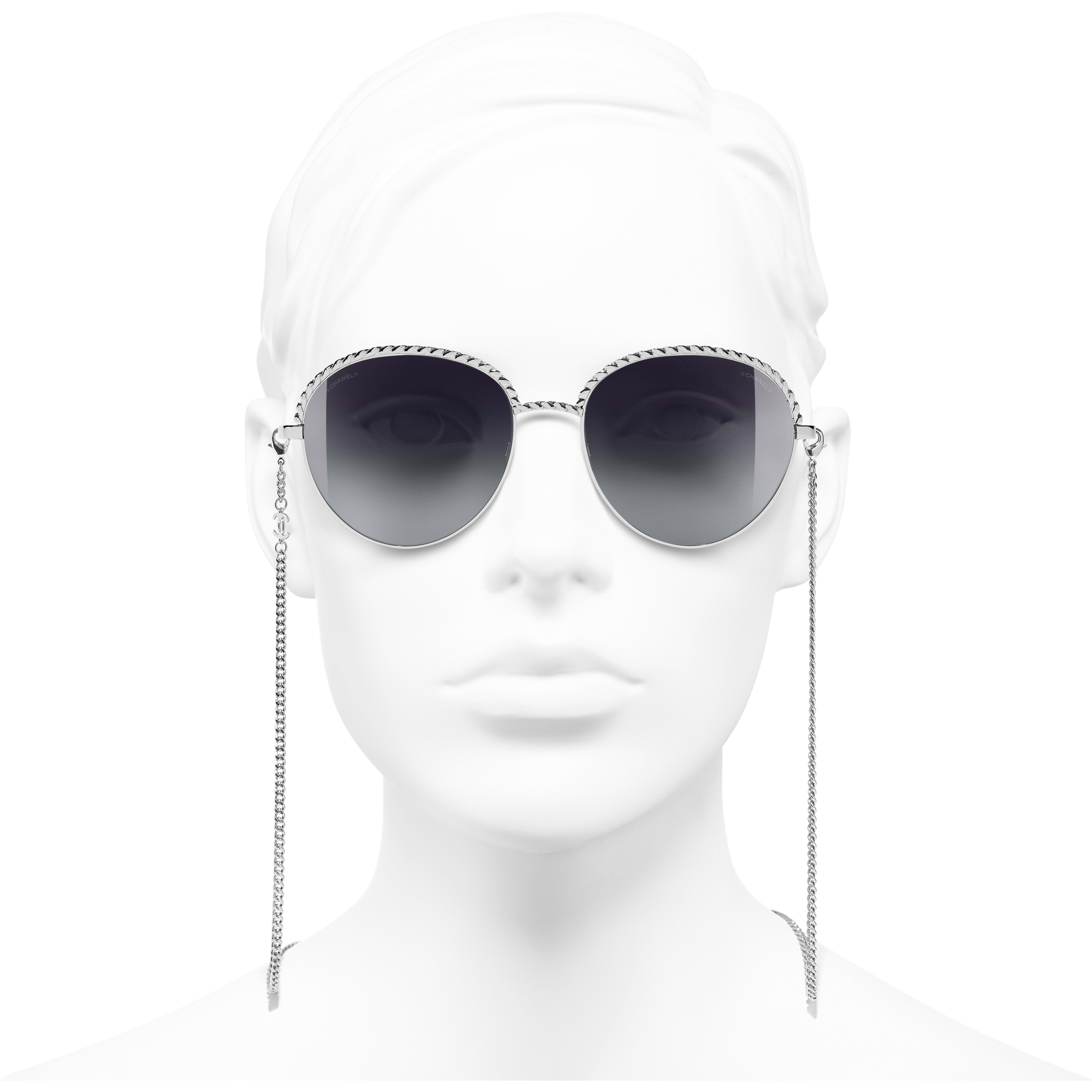 Pantos Sunglasses - Silver - Metal - CHANEL - Worn front view - see standard sized version