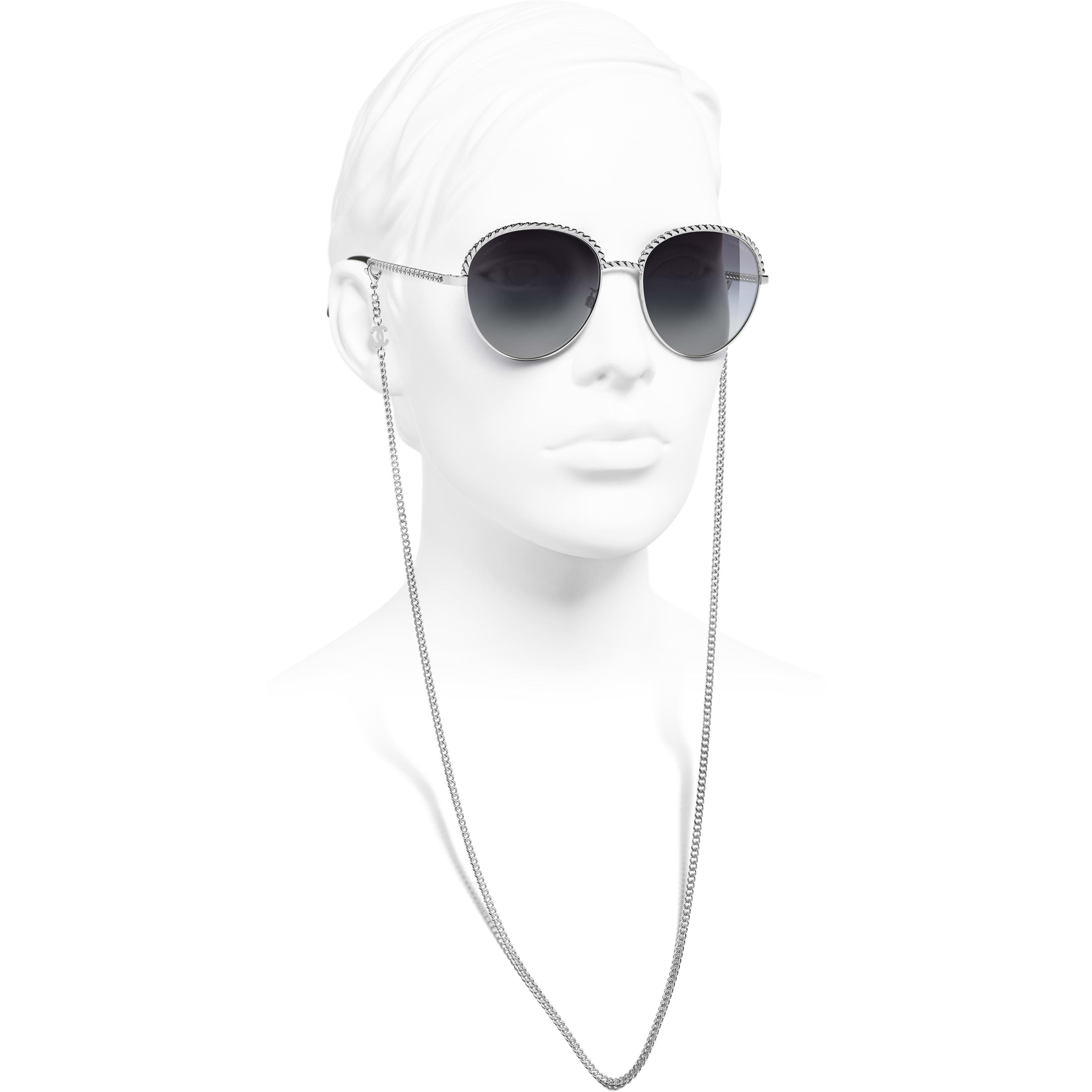 Pantos Sunglasses - Silver - Metal - CHANEL - Worn side view - see standard sized version