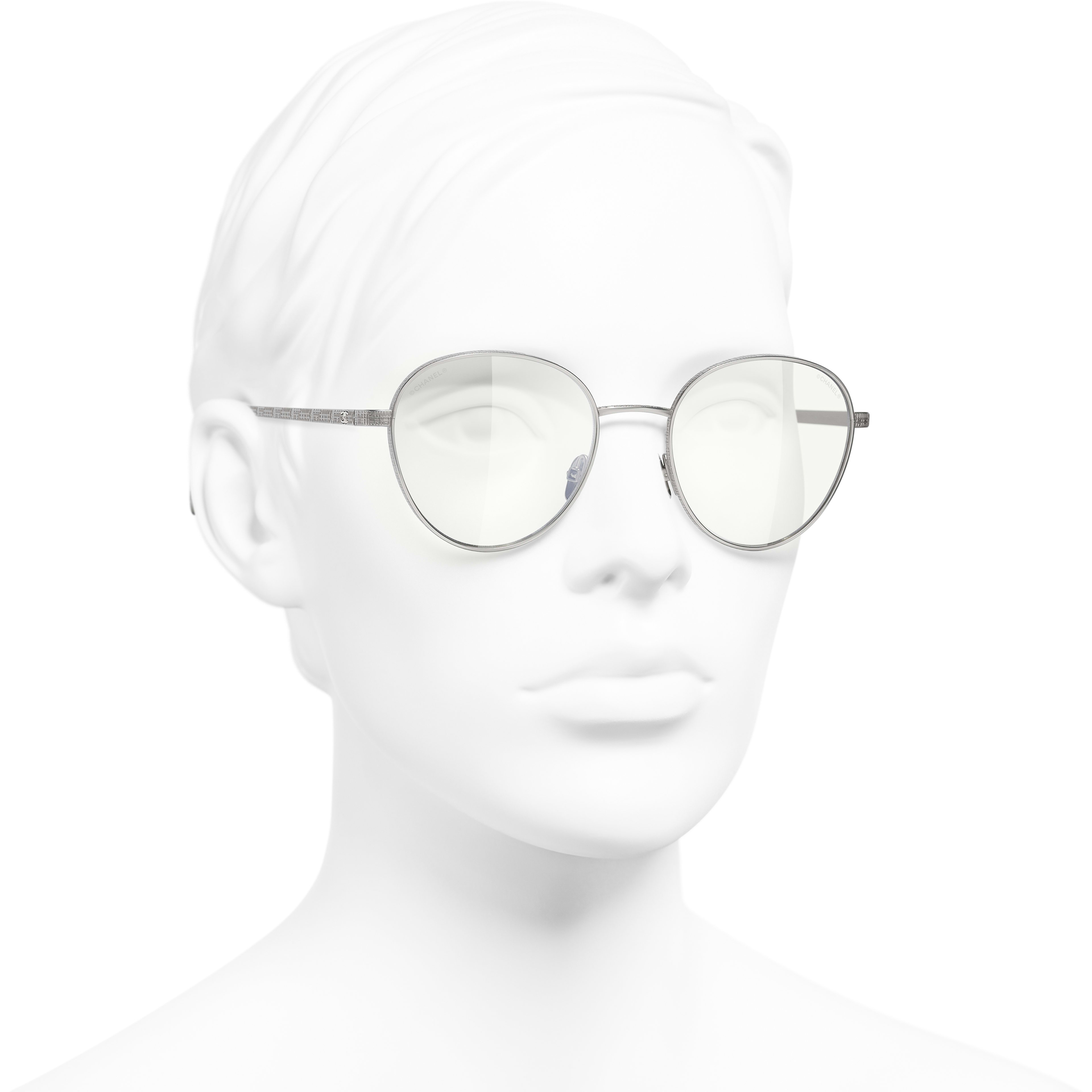 Pantos Sunglasses - Silver - Titanium - CHANEL - Worn 3/4 view - see standard sized version