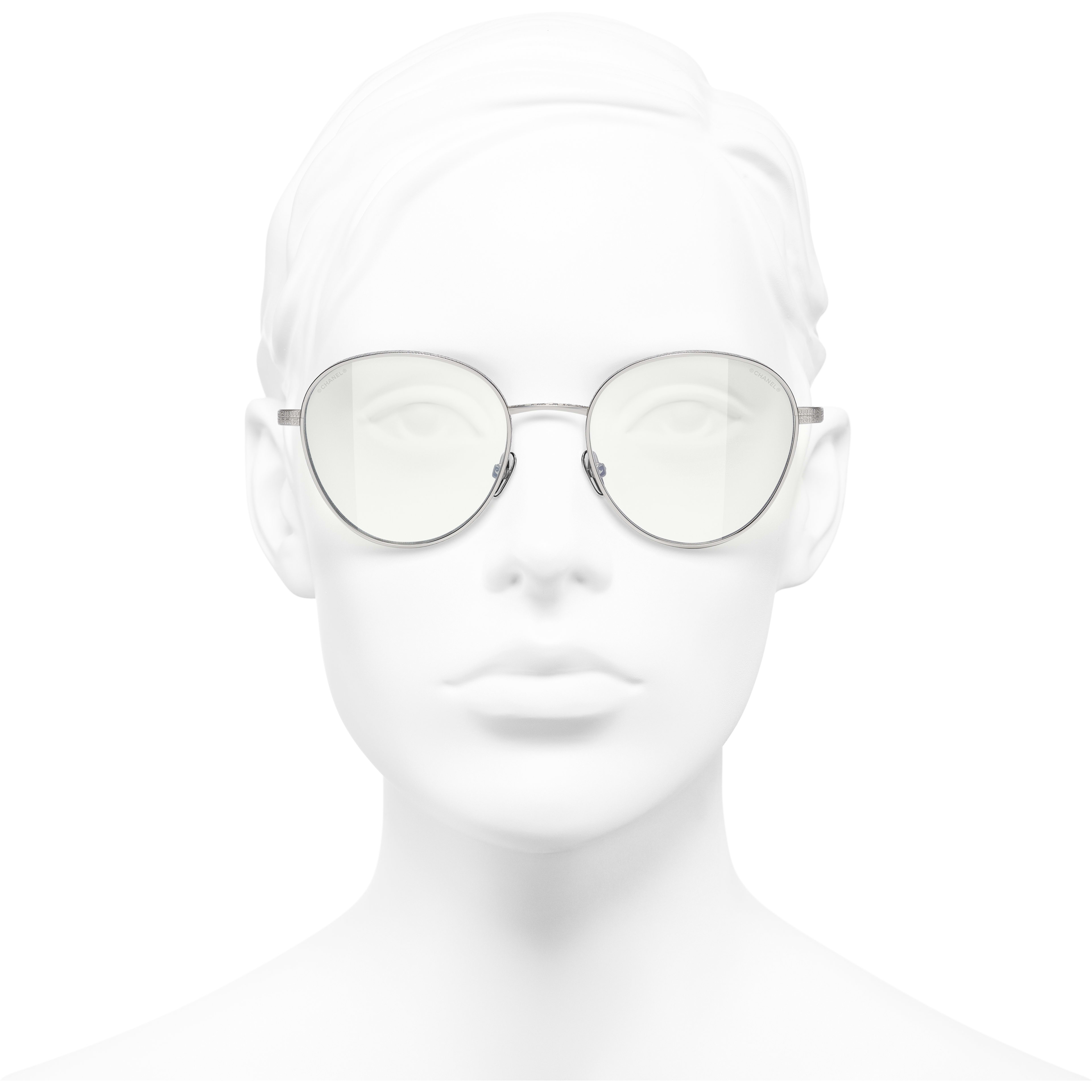 Pantos Sunglasses - Silver - Titanium - CHANEL - Worn front view - see standard sized version