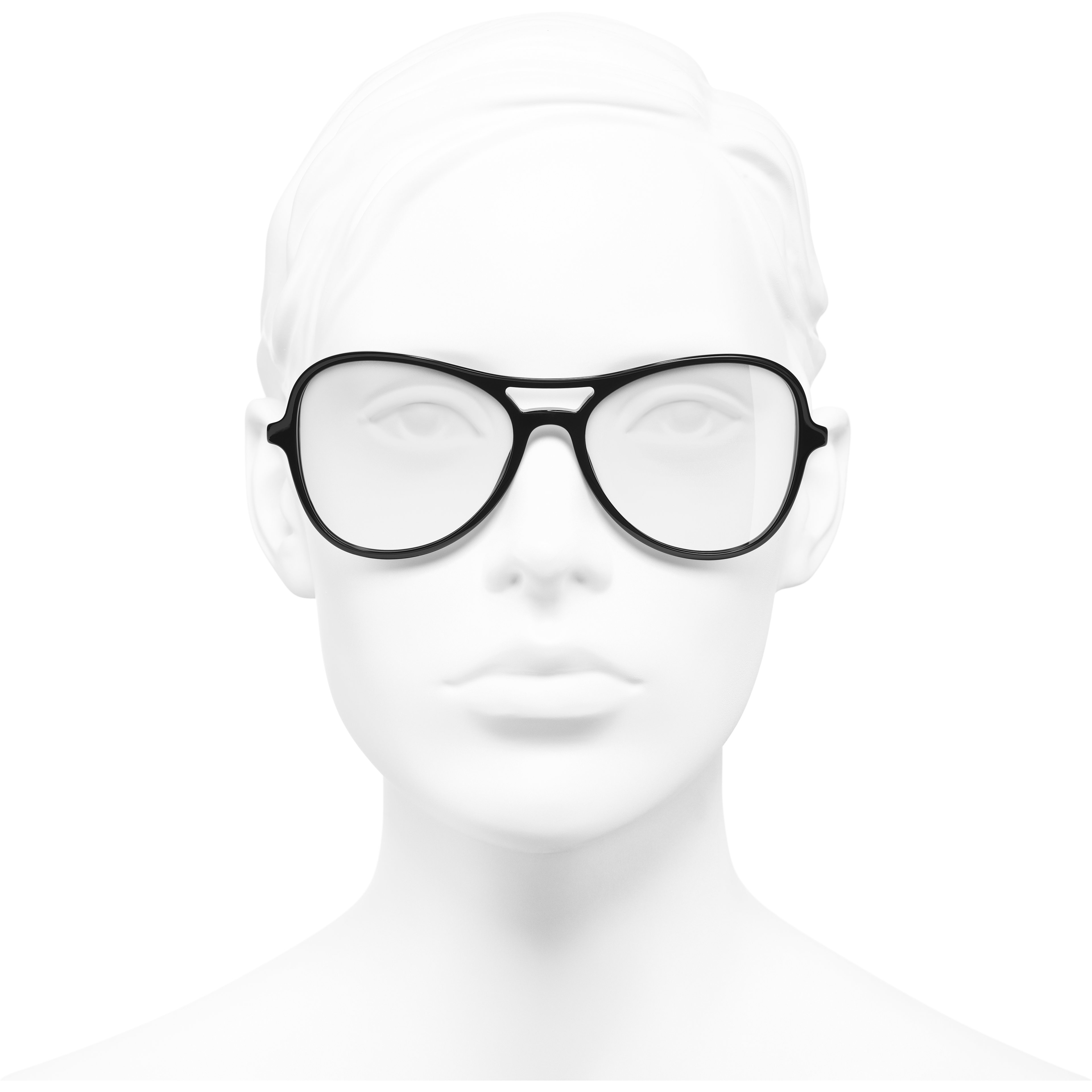 Pilot Eyeglasses - Black - Acetate & Imitation Pearls - Worn front view - see standard sized version