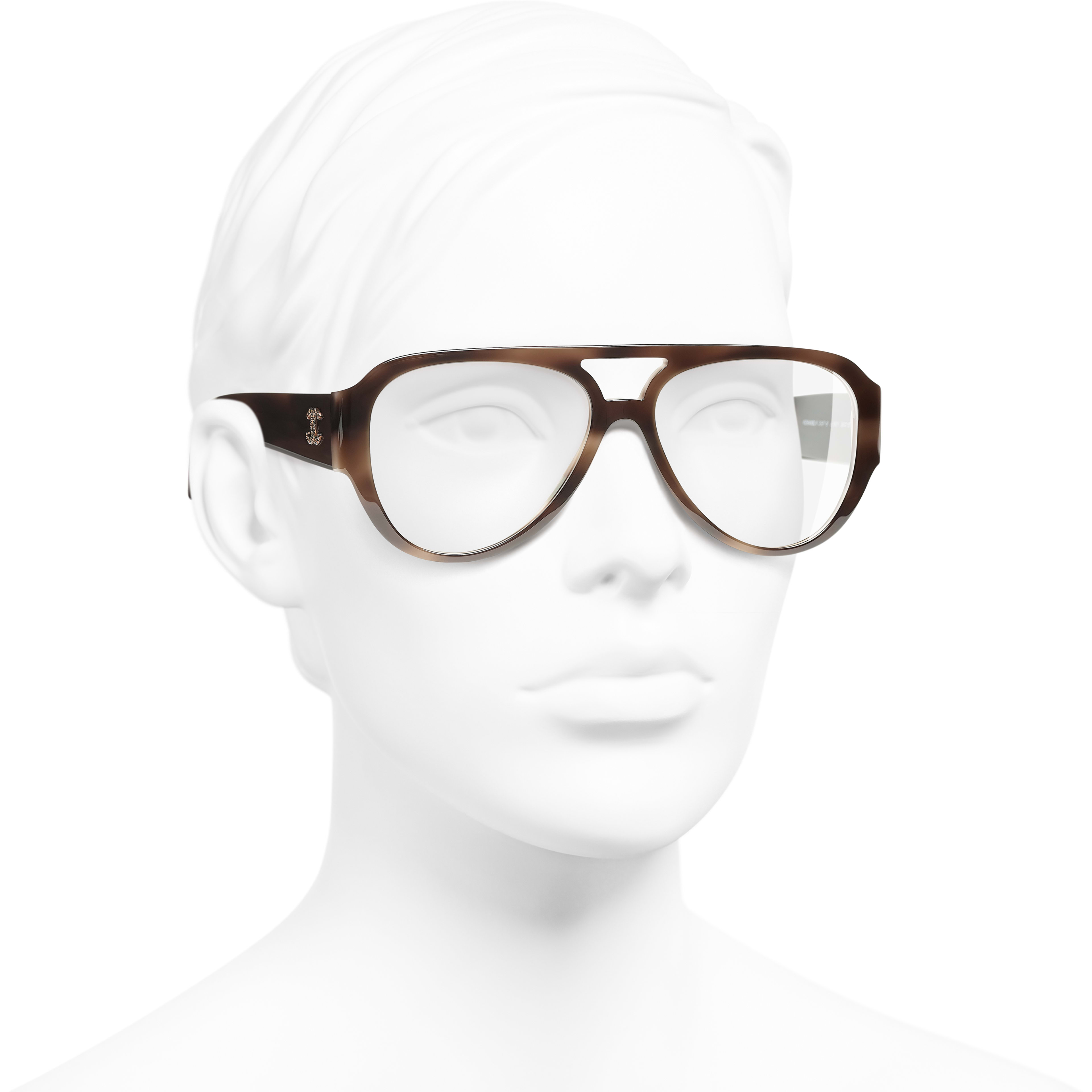 Pilot Eyeglasses - Brown - Acetate & Diamanté - Worn 3/4 view - see standard sized version