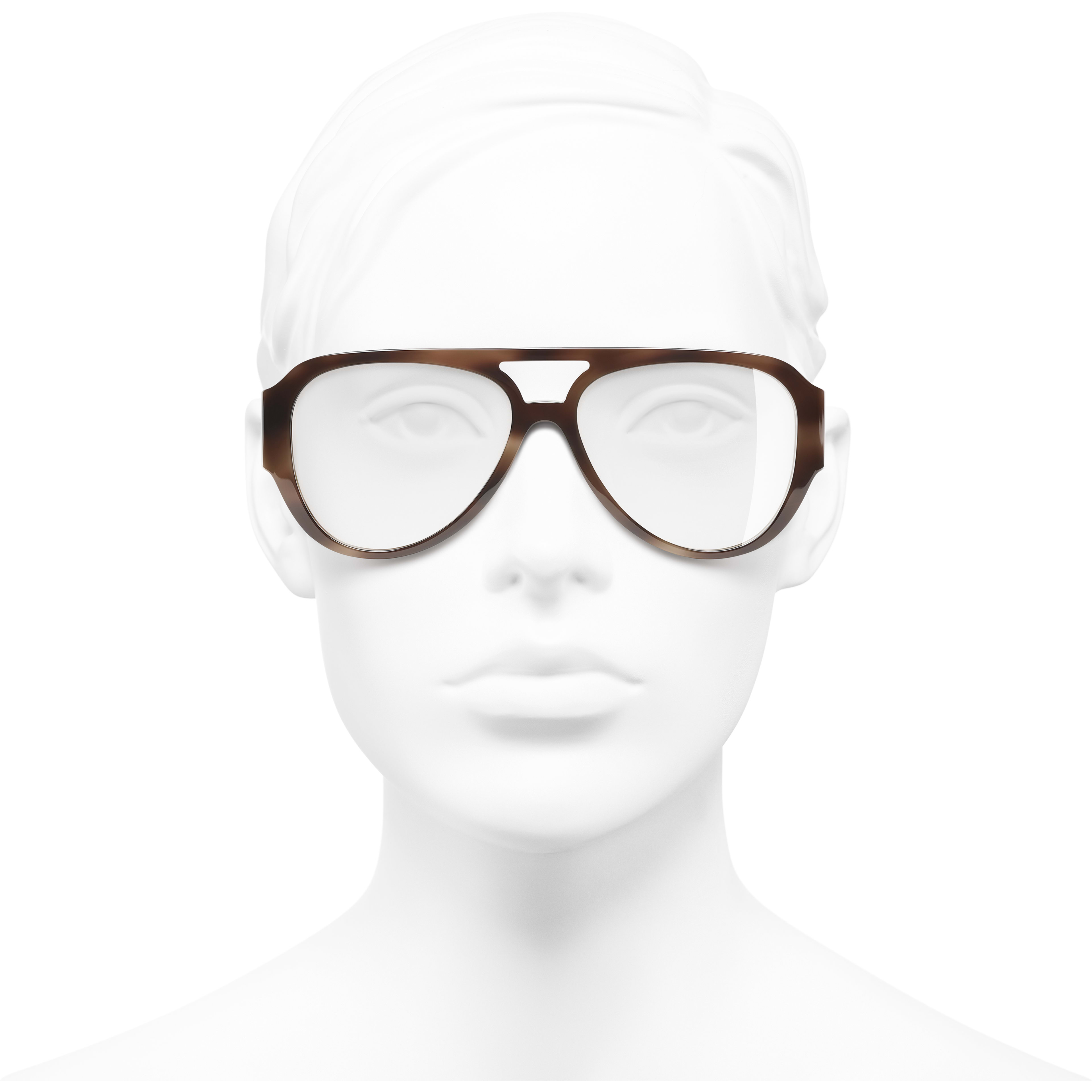 Pilot Eyeglasses - Brown - Acetate & Diamanté - Worn front view - see standard sized version