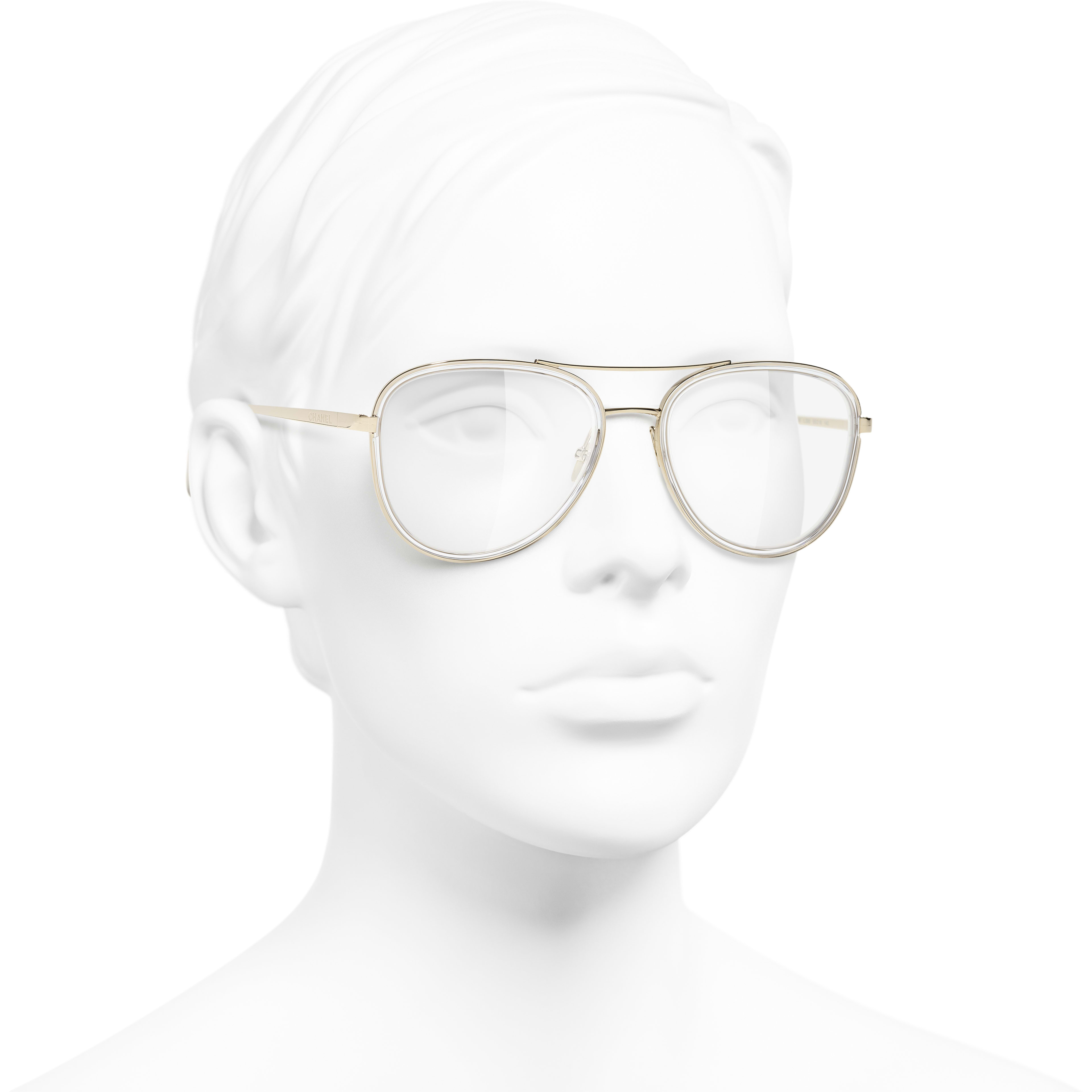 Pilot Eyeglasses - Gold - Metal - CHANEL - Worn 3/4 view - see standard sized version