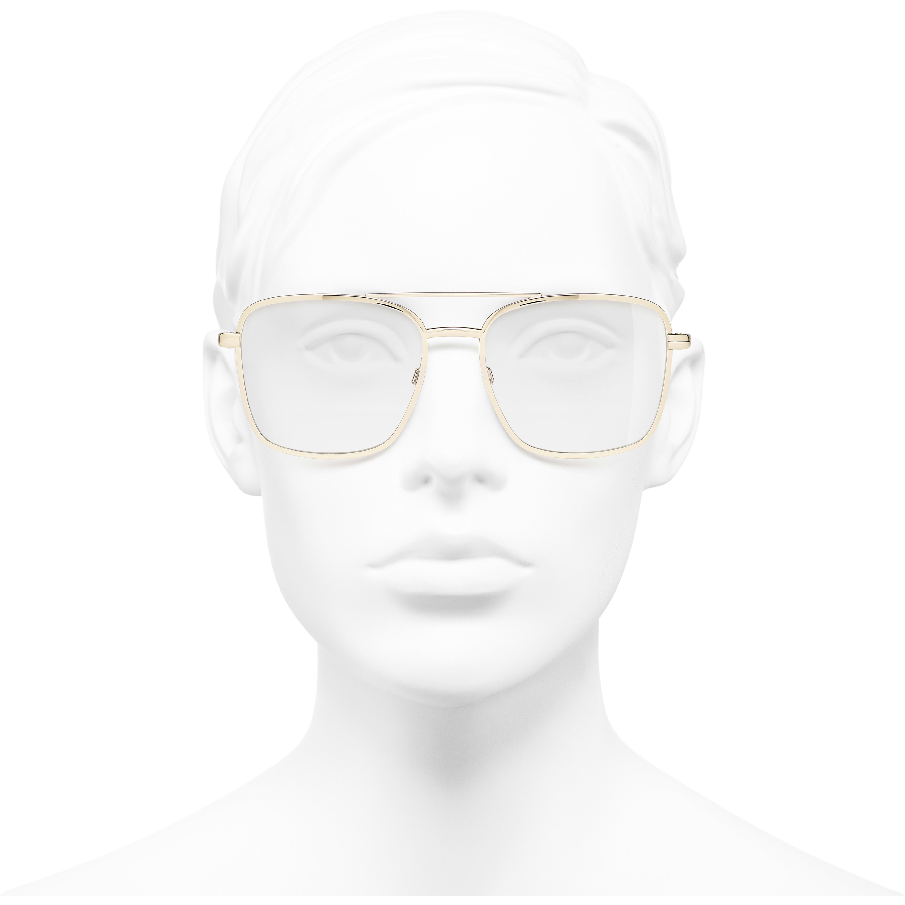 Pilot Eyeglasses - Gold - Metal - Worn front view - see standard sized version