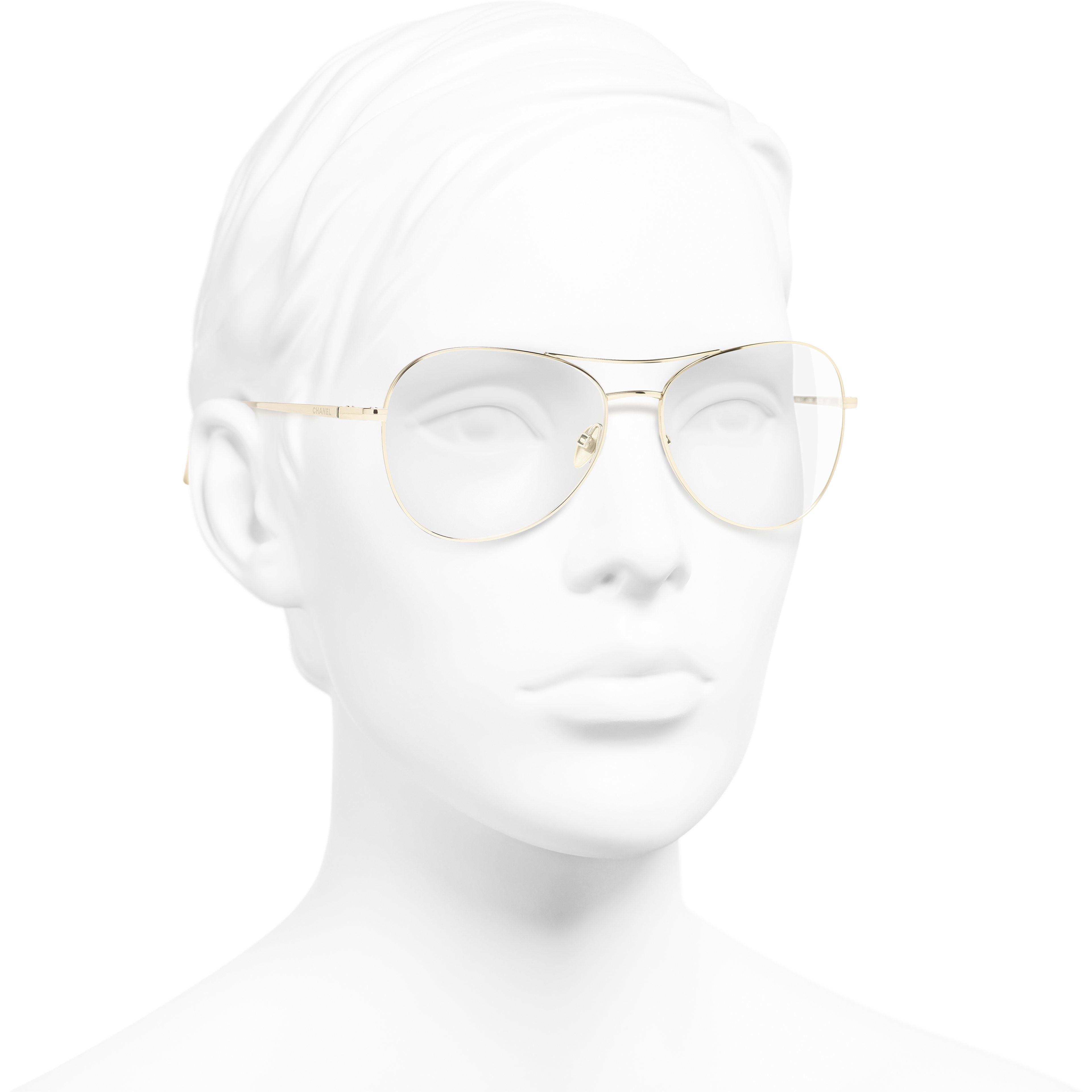 Pilot Eyeglasses - Gold - Titanium - CHANEL - Worn 3/4 view - see standard sized version